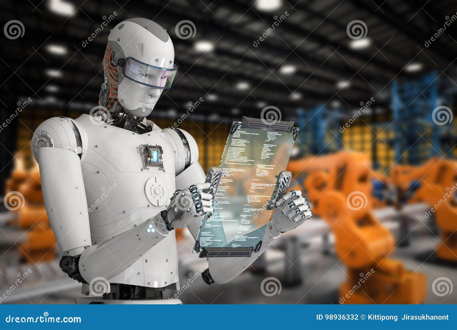 Roboter, der mit digitaler Tablette arbeitet