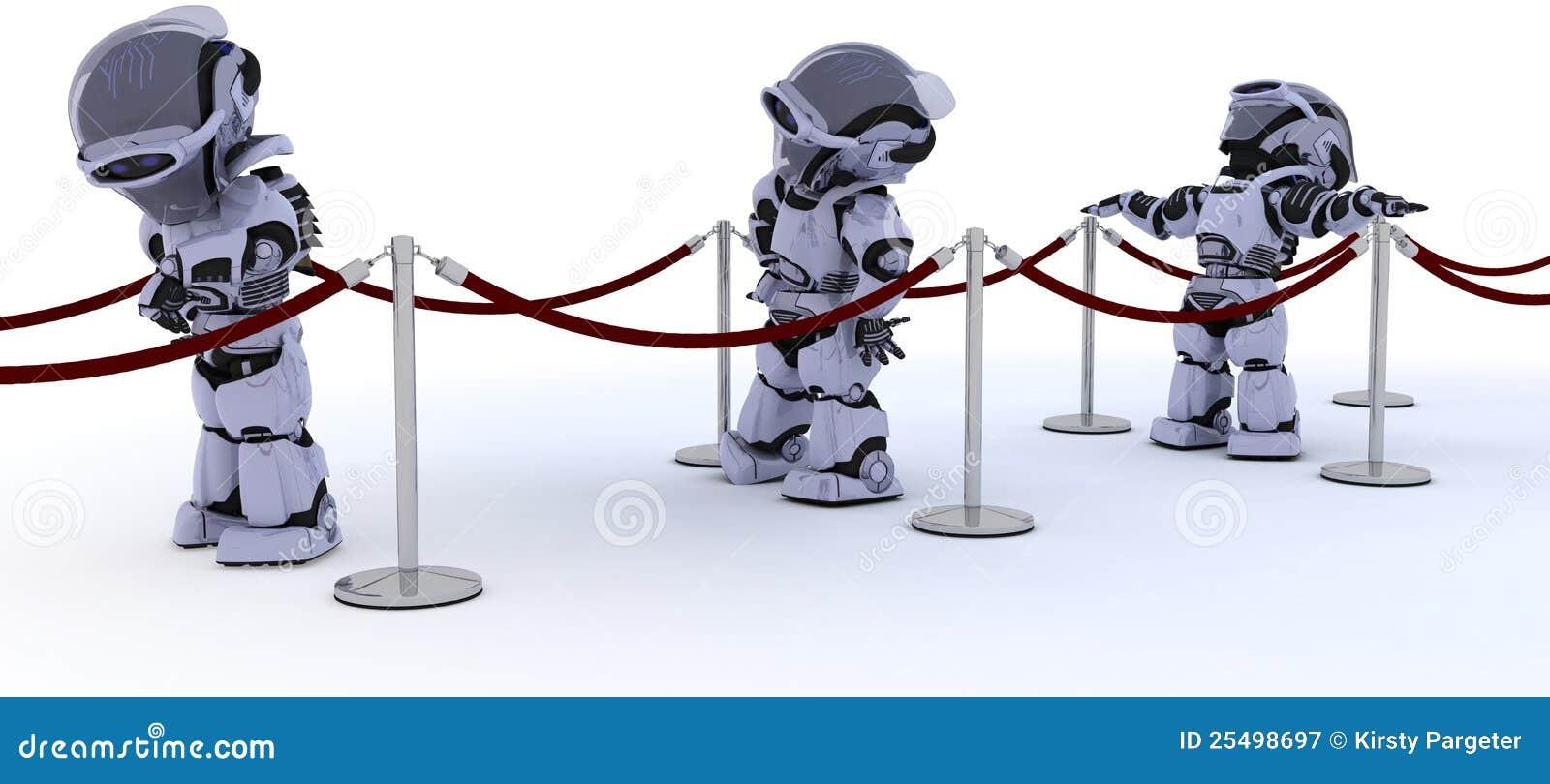 Roboter, die in Zeile warten