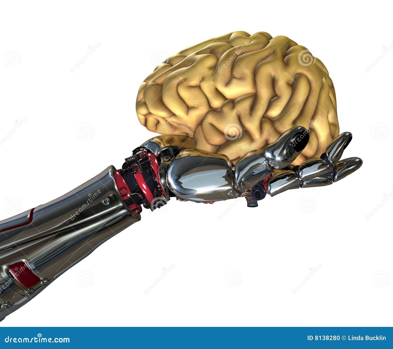 Roboter-Hand, die menschliches Gehirn anhält