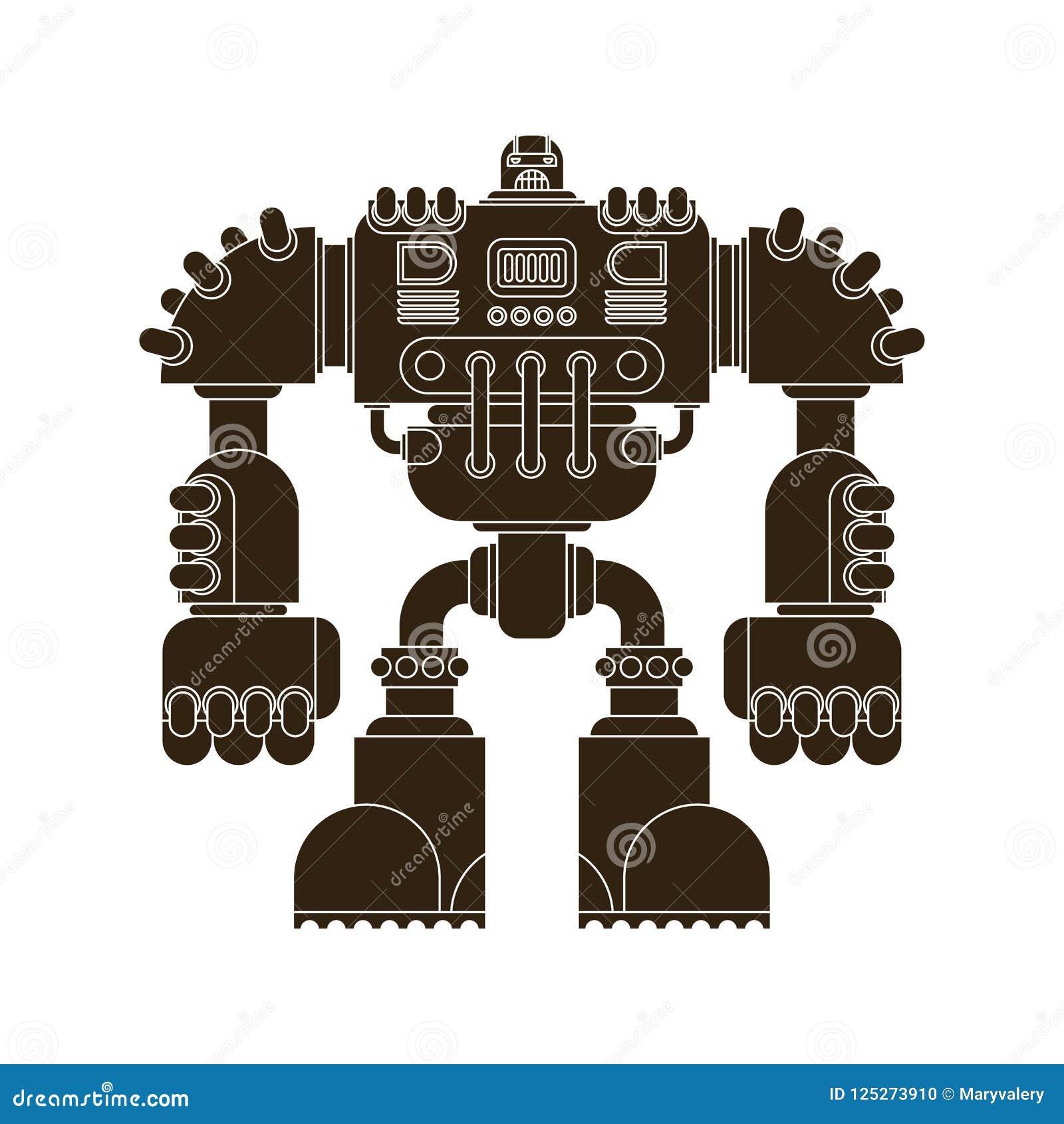 Roboter lokalisiert Kampf Cyborg-Kriegerszukunft Vektor Illustratio