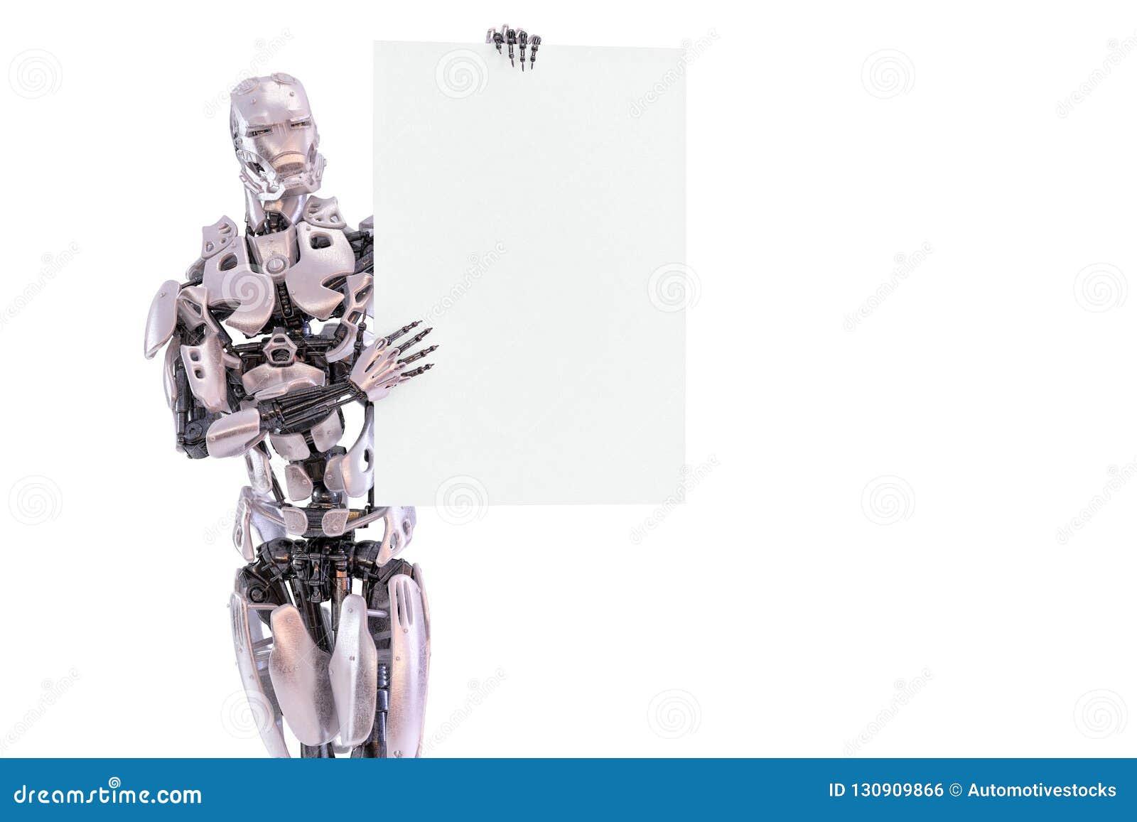 Roboter männliche Stellung androiden Cyborg und Halten des Modellblattes des leeren Papiers Bekanntmachen des Konzeptes Vektorbil