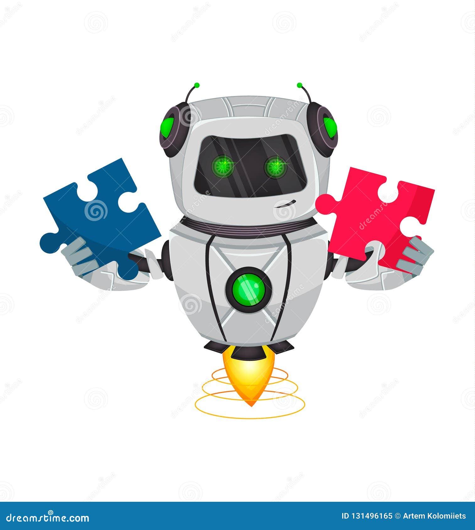 Roboter mit künstlicher Intelligenz, Bot Lustige Zeichentrickfilm-Figur hält zwei Stücke des Puzzlespiels Kybernetischer Organism
