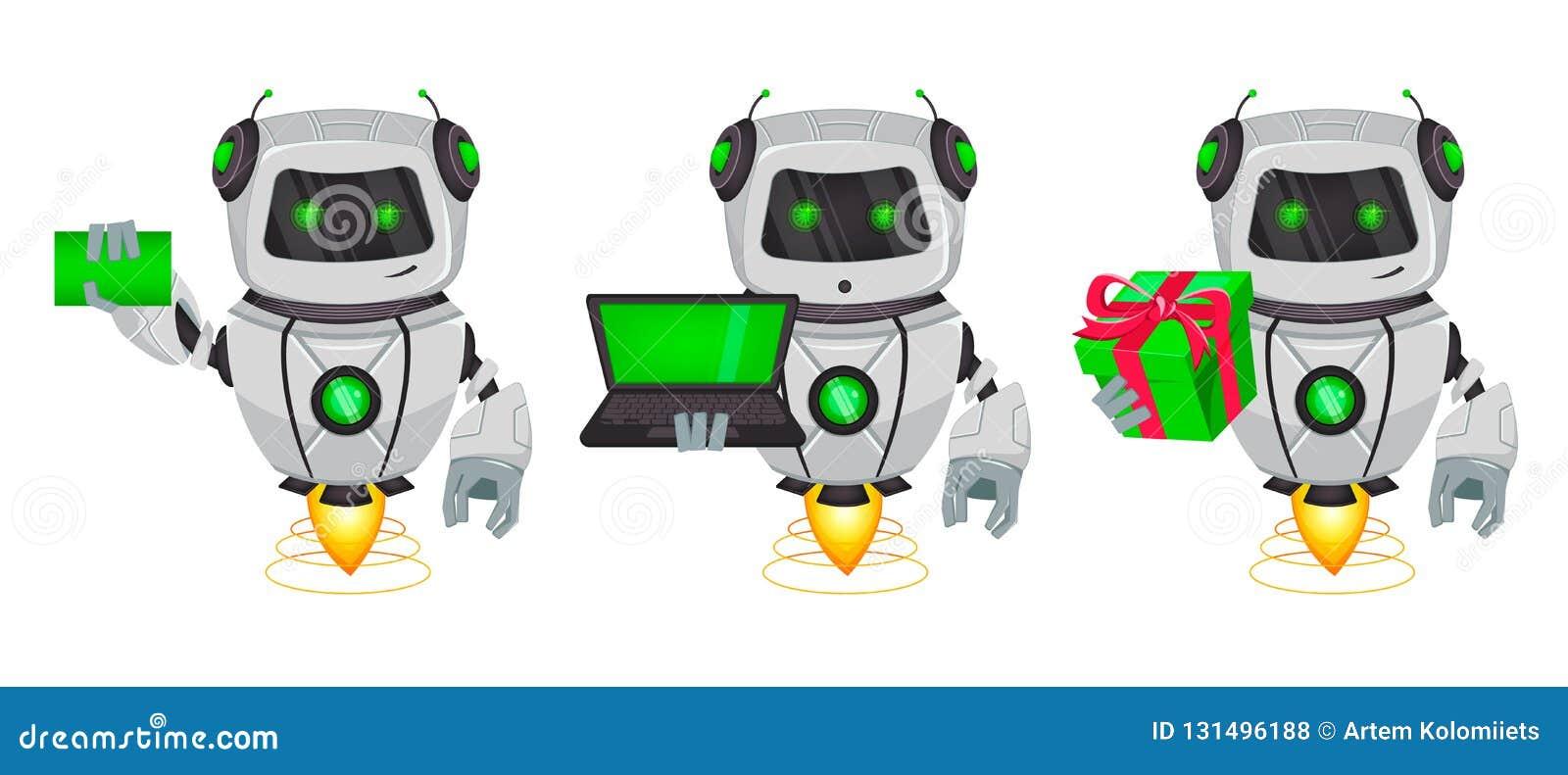 Roboter mit künstlicher Intelligenz, Bot, Satz von drei Haltungen Lustige Zeichentrickfilm-Figur hält leere Visitenkarte, hält La