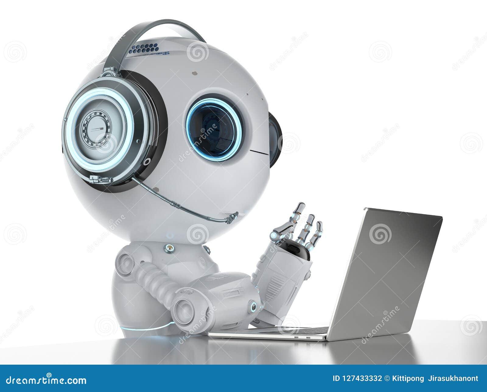 Roboter mit Kopfhörer und Notizbuch