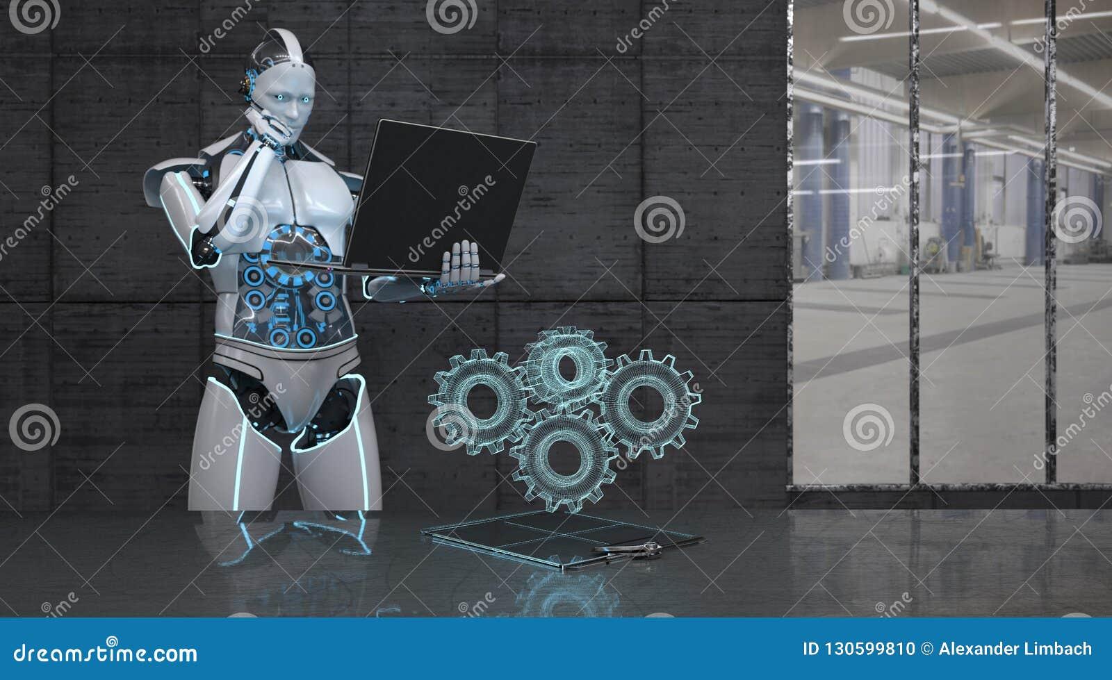 Roboter-Notizbuch-Gang-Räder