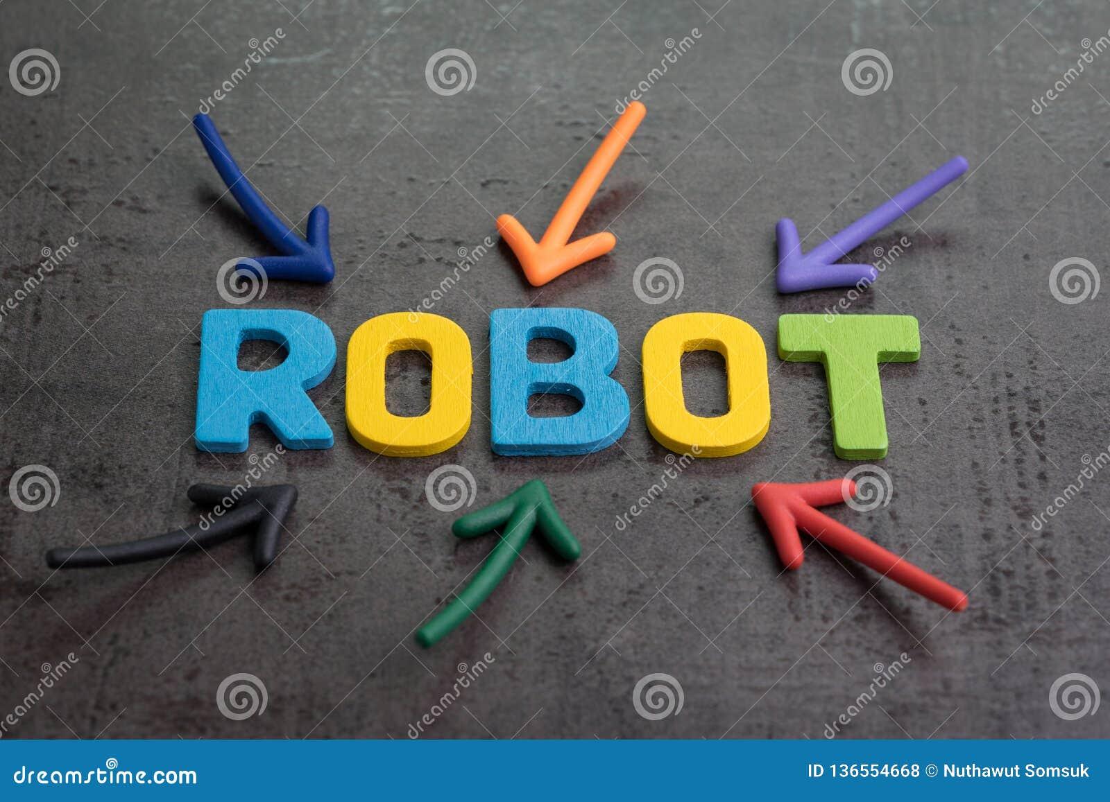 Roboter oder Konzept der künstlichen Intelligenz, mehrfacher Pfeil, der auf die bunten Alphabete aufbauen das Wort ROBOTER auf sc