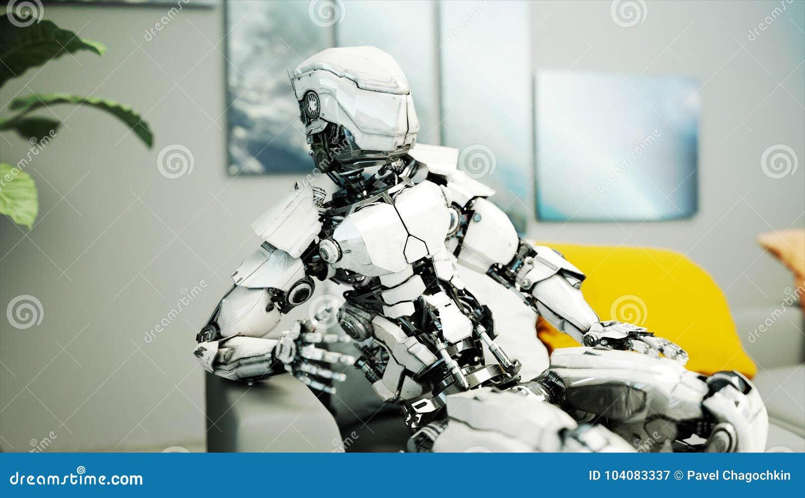 Roboter sitzen auf Sofa relax Konzept von Zukunft Wiedergabe 3d