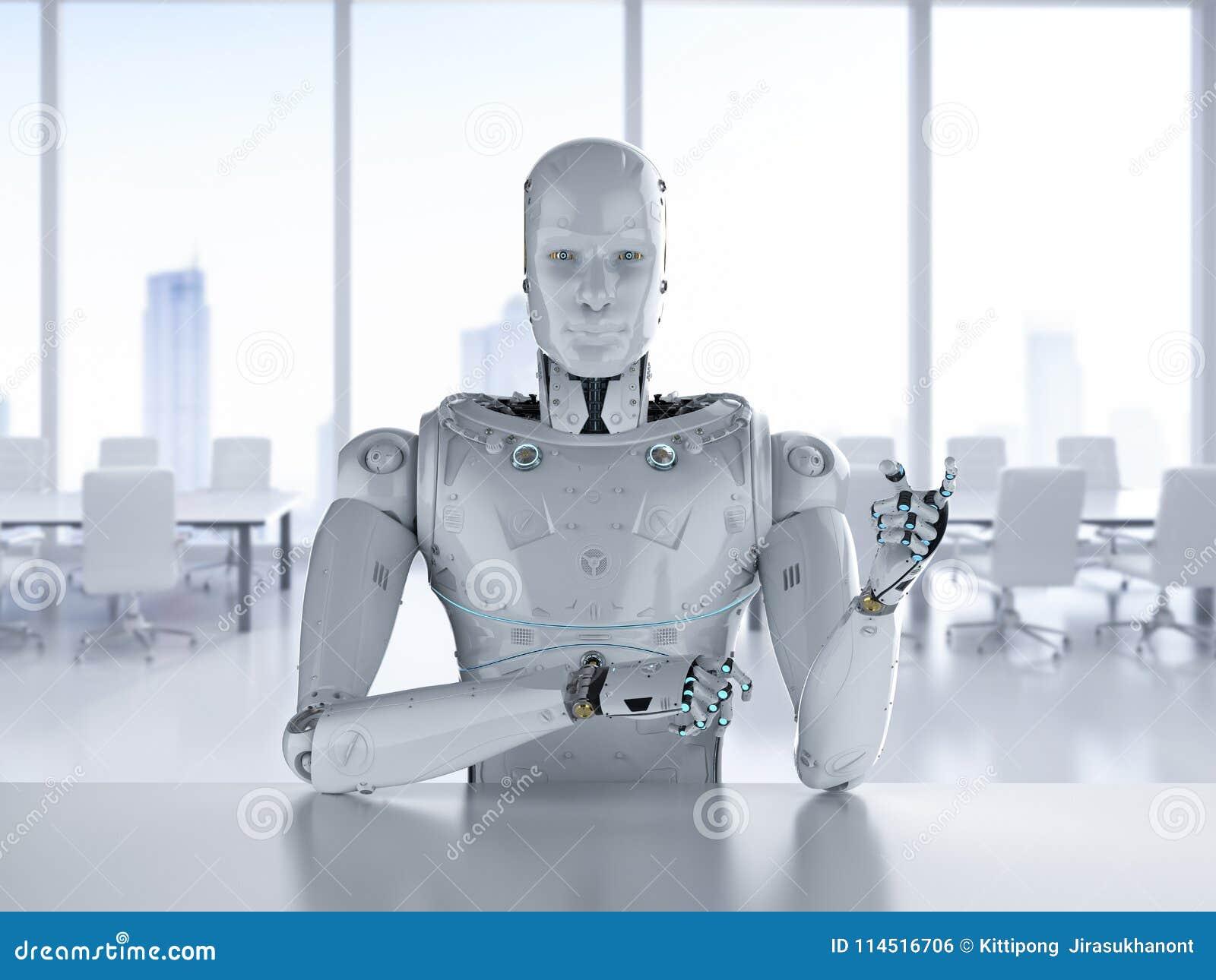 Roboter sitzen im Büro