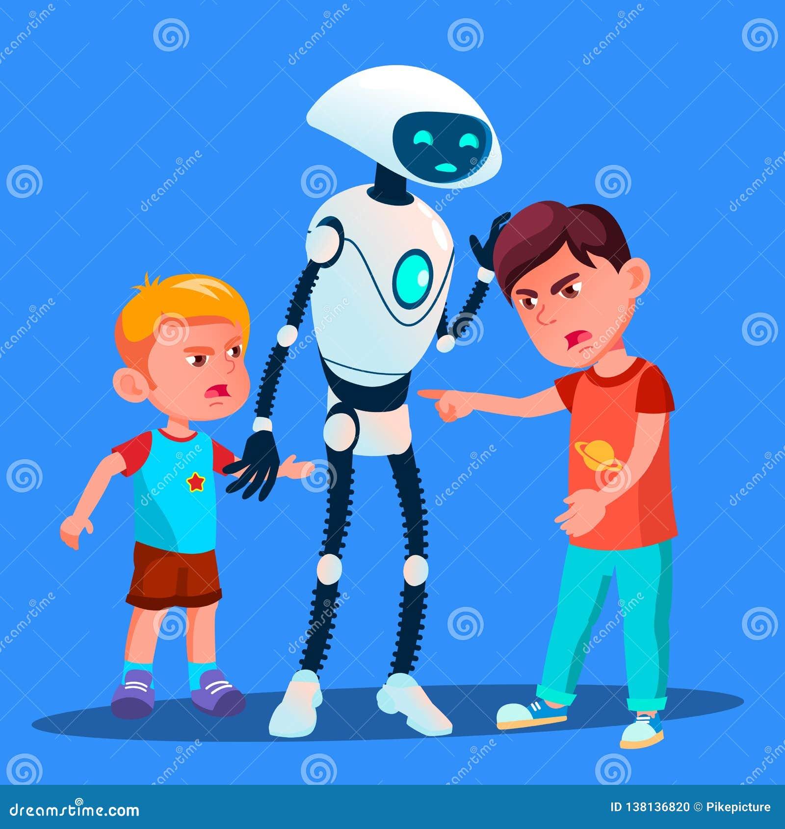 Roboter stellt auseinander zwei Jungen ein, die Kindervektor kämpfen Getrennte Abbildung