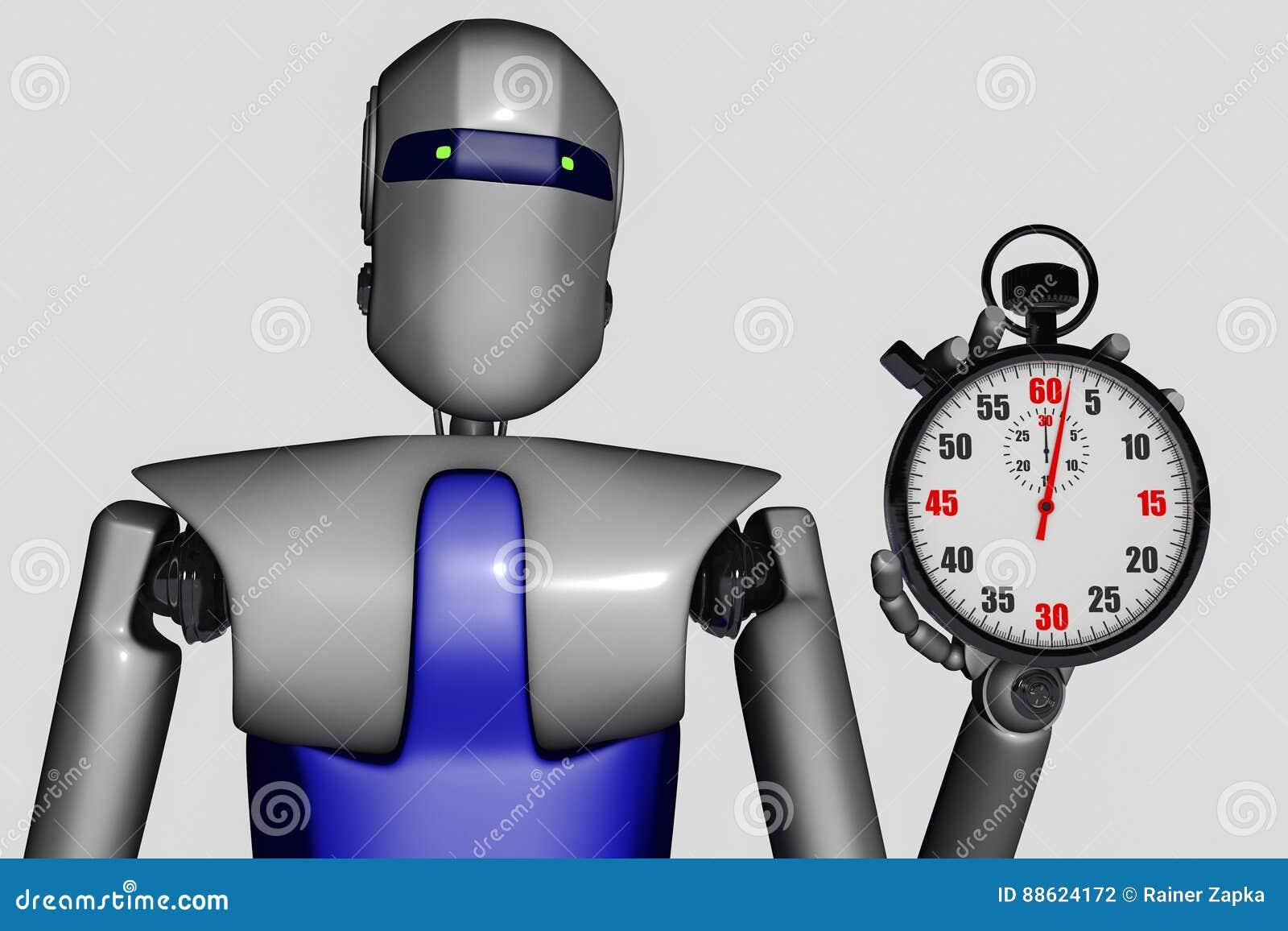 Roboter und Stoppuhr