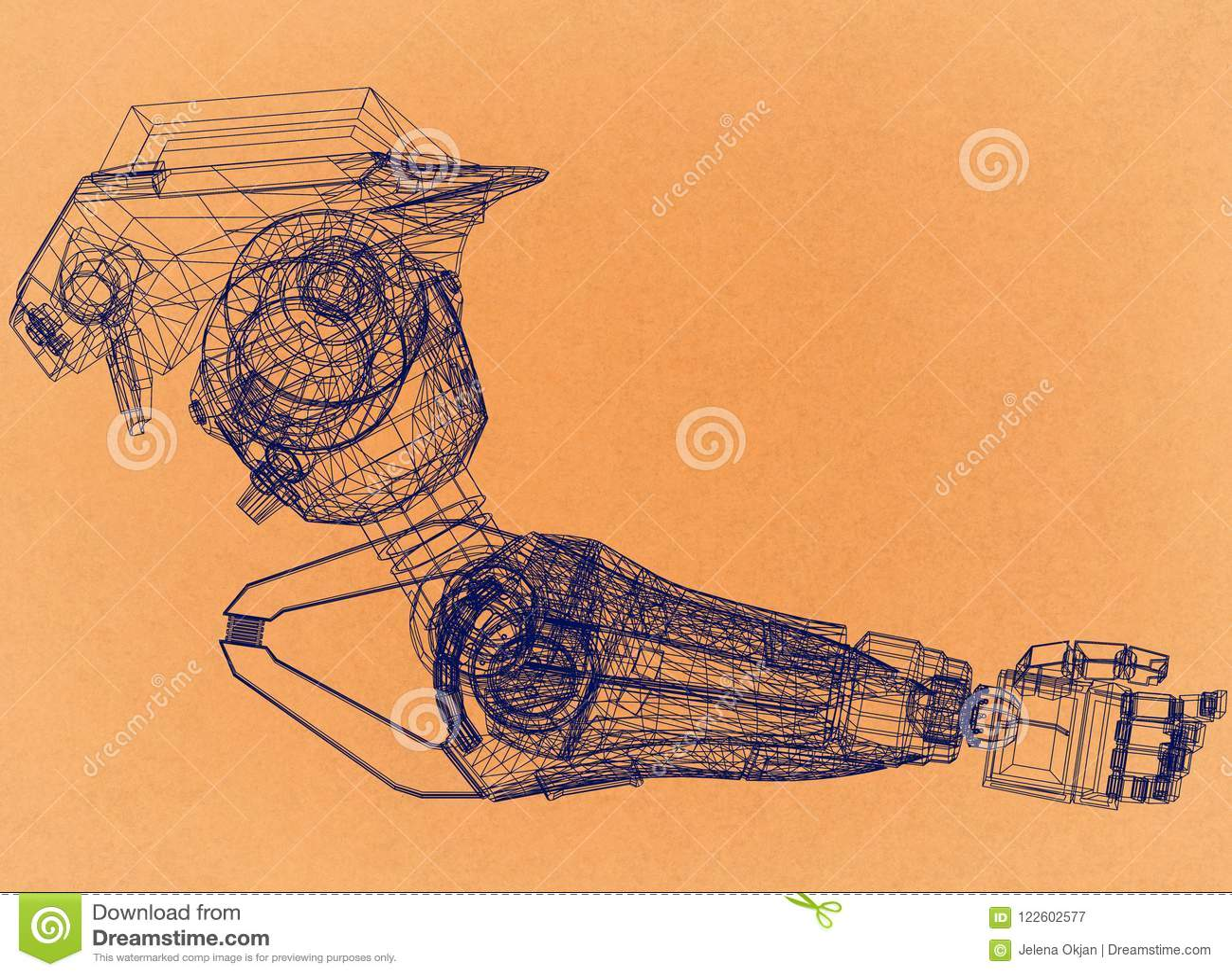 Roboterarm-Konzept des Entwurfes - Retro- Architekt Blueprint