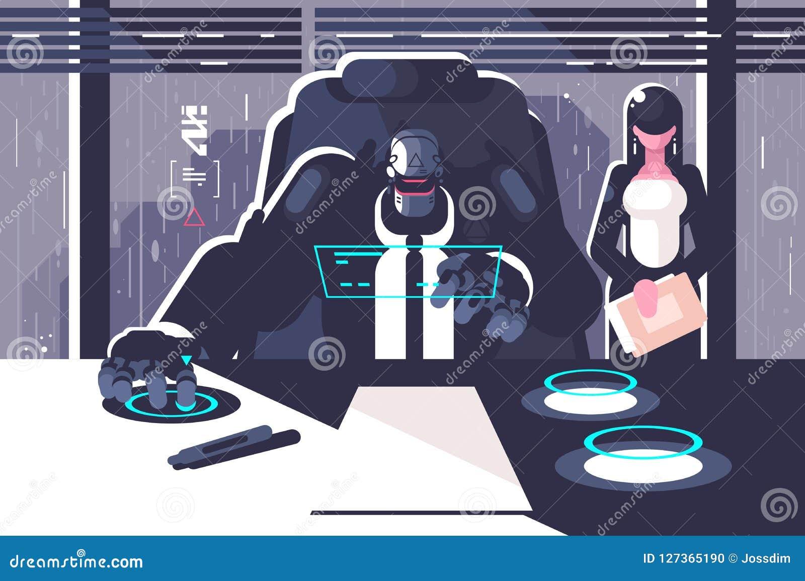 Roboterchef mit Frauensekretär im Büroraum