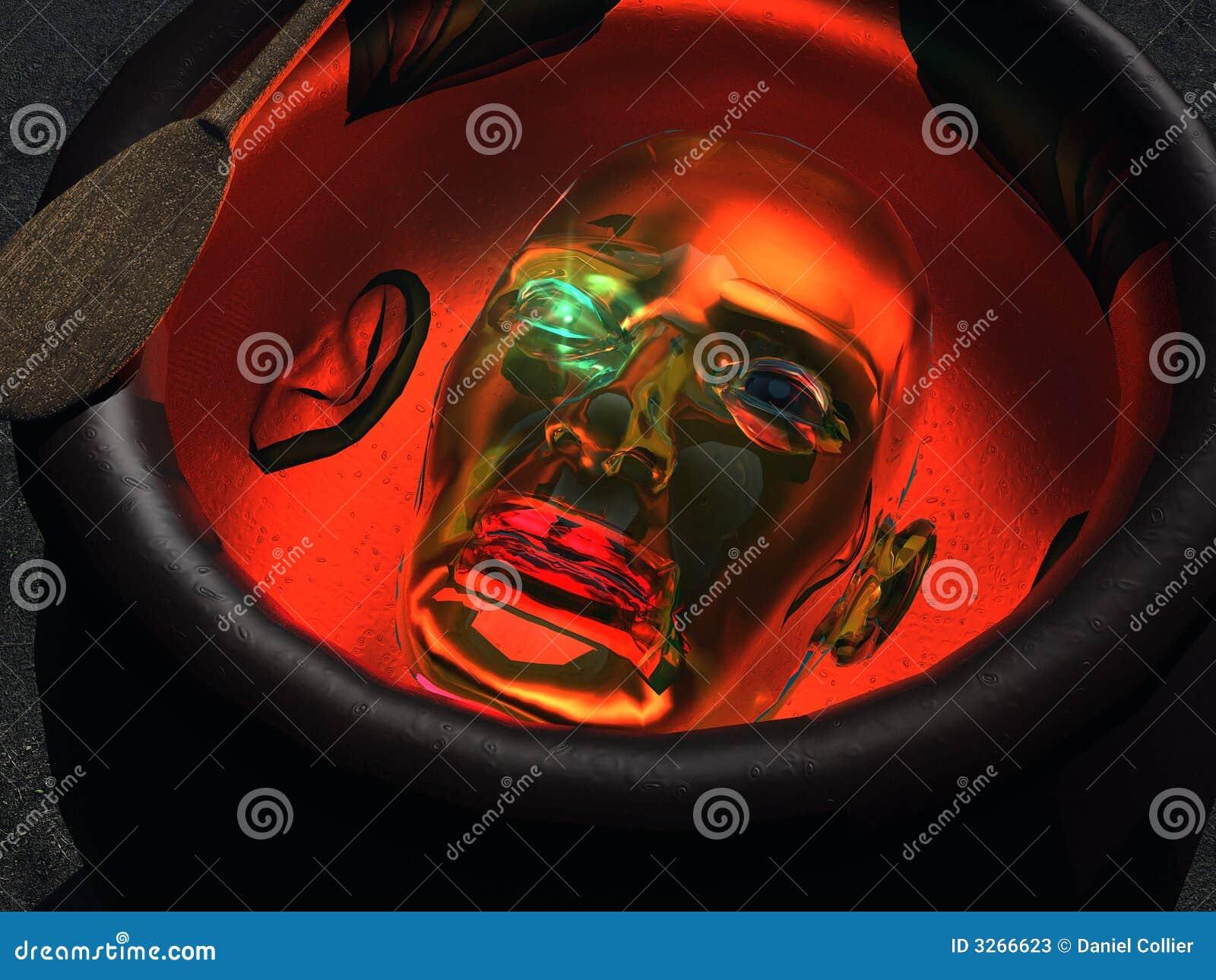 Roboterkopf In Einem Kessel Stock Abbildung - Illustration von stir ...