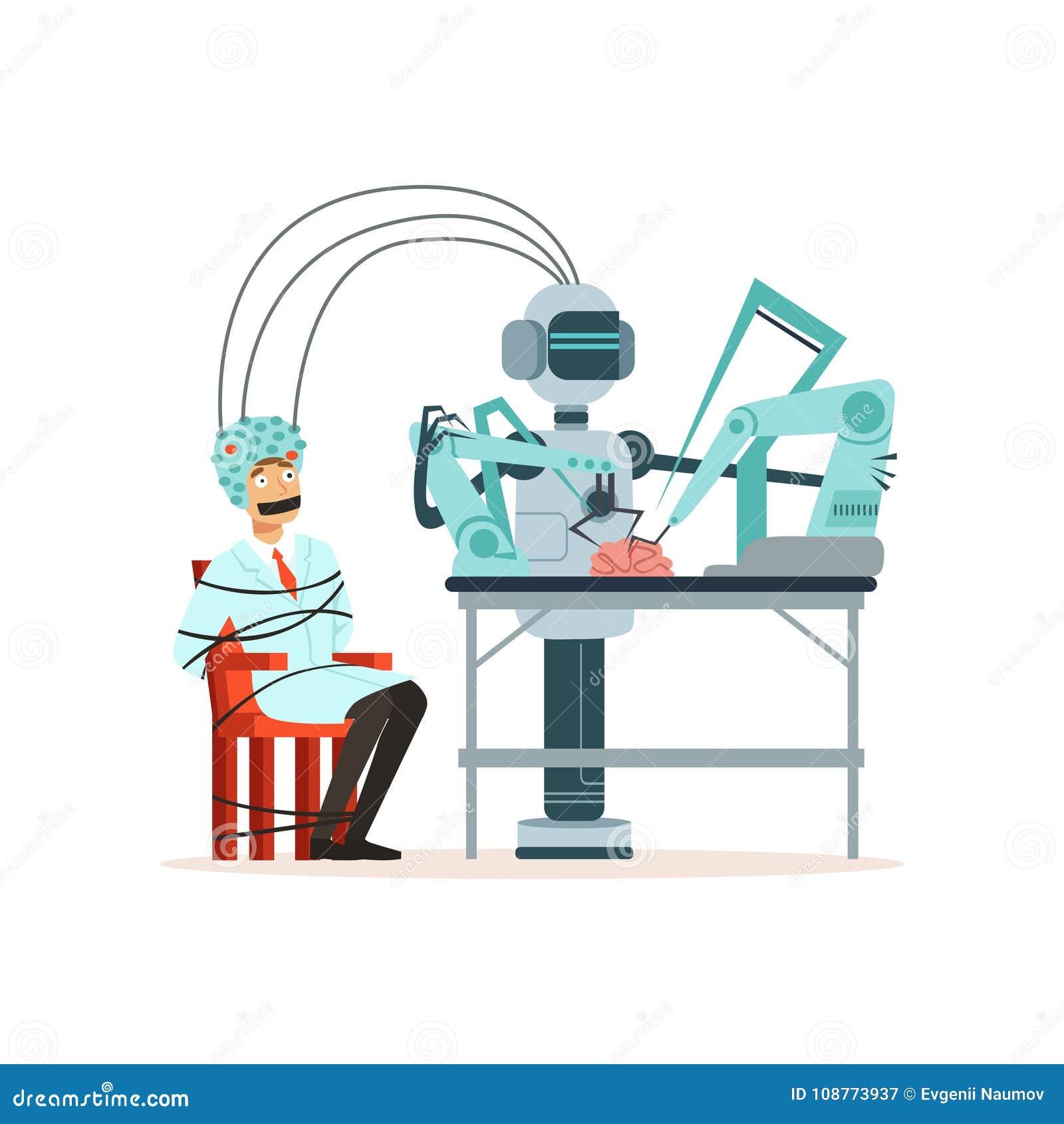 Roboterleitexperiment in einem Labor, Mann oben gebunden mit dem Seil, das in einem Sturzhelm für Gehirnforschung, künstlich sitz