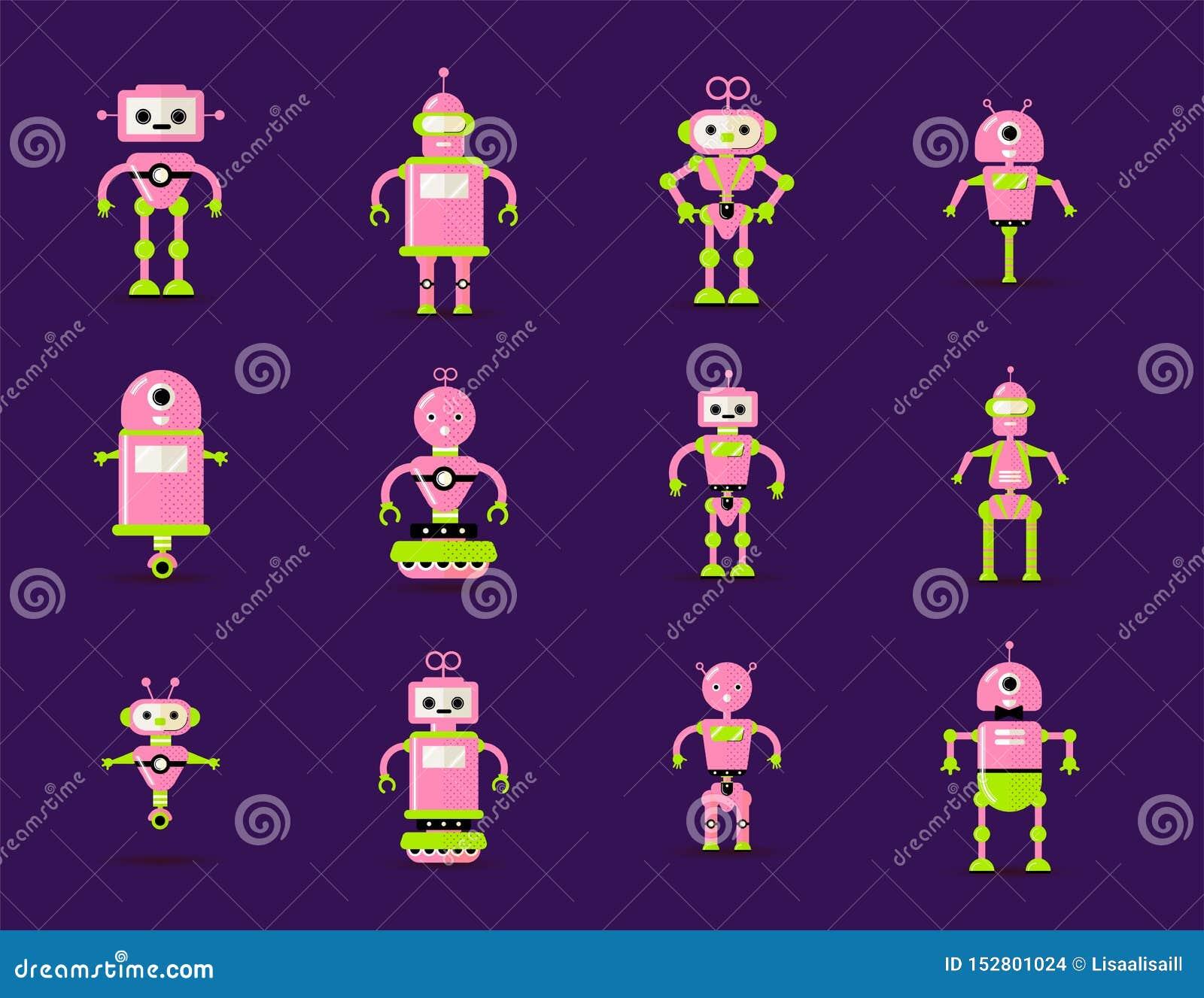 Roboterspielwarensammlung im Rosa, grüne Farben Spaßvektorroboter spielen die gesetzte Ikone in der flachen Art lokalisiert auf v