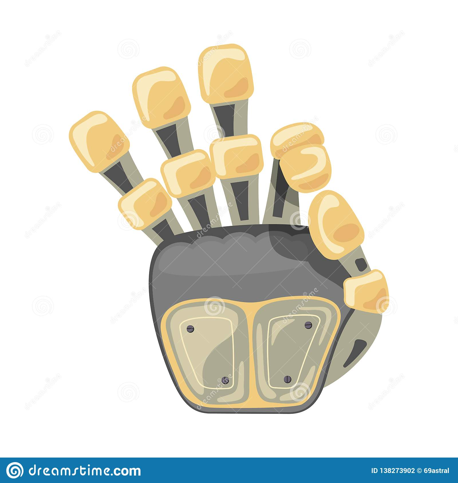 Robothand en vlinder Mechanisch de technieksymbool van de technologiemachine De gebaren van de hand O.k. Koel teken Goed Teken Vr