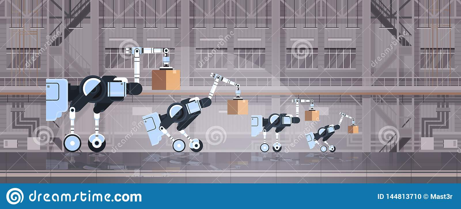 Robotic arbetare som laddar för högteknologiskt smart begrepp för teknologi för automation för logistik fabrikslager för ka