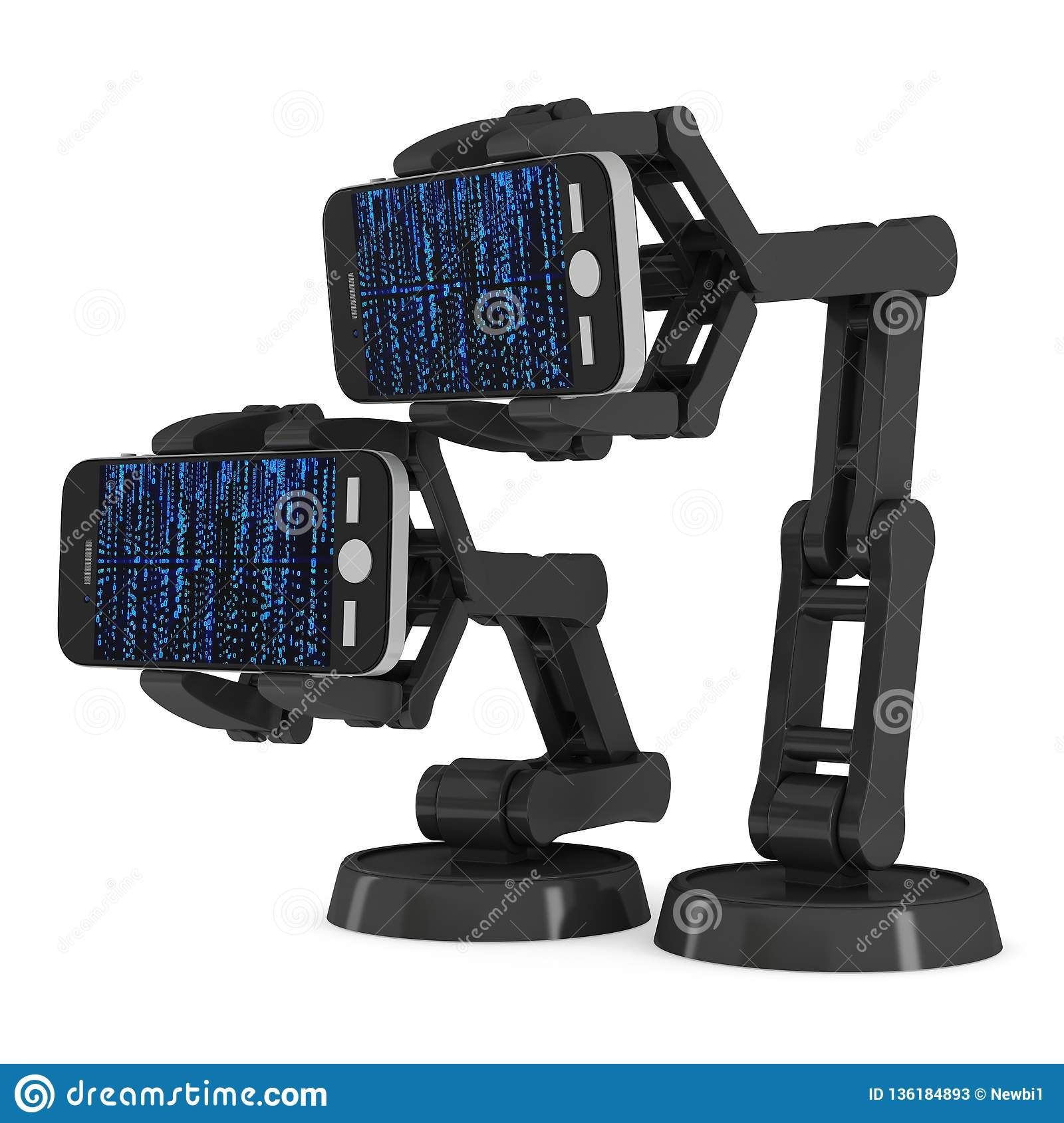 Robotic Arm With Binary Code 3d Stock Illustration - Illustration of