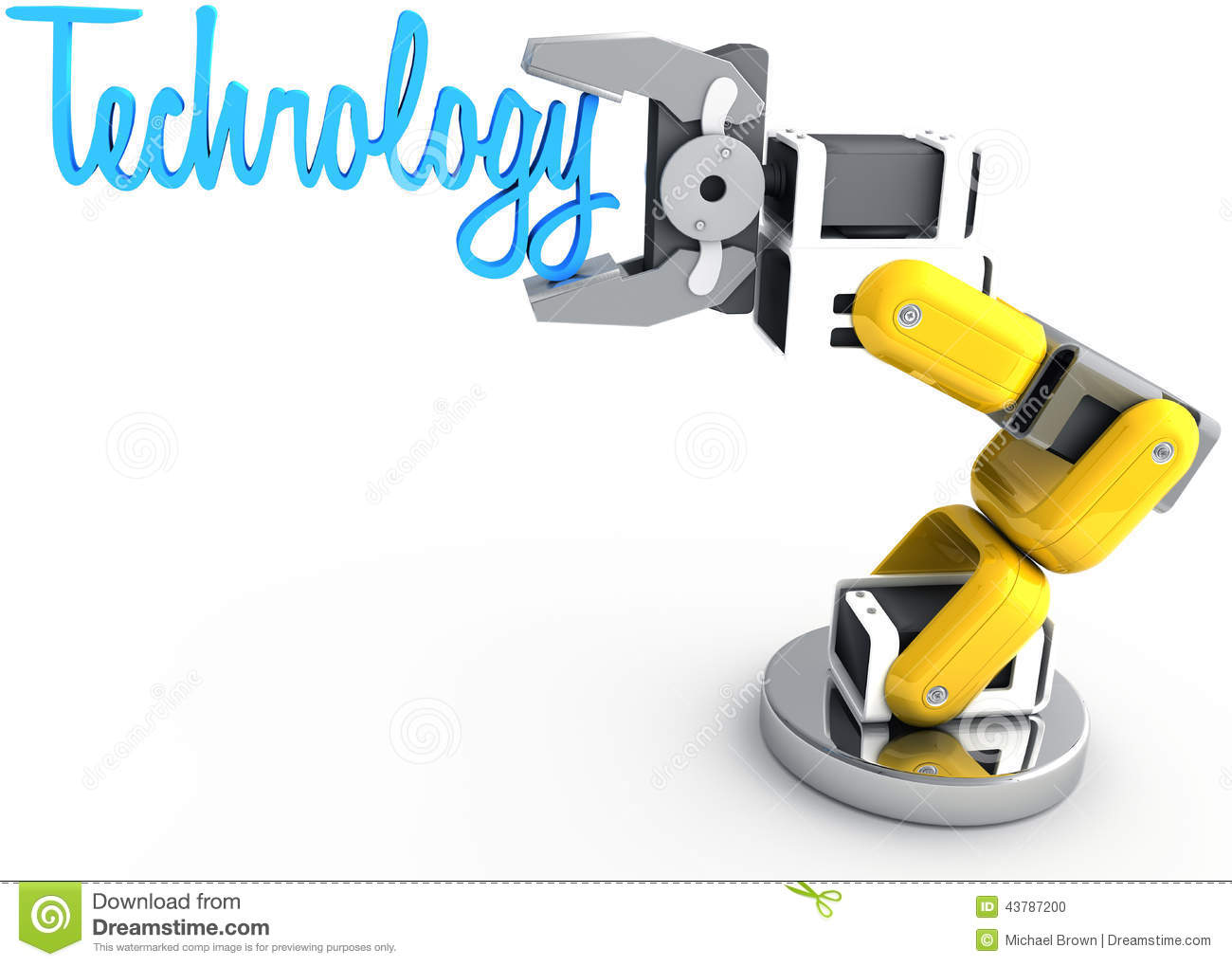 Robotic Arm Holding Technology Word Stock Illustration