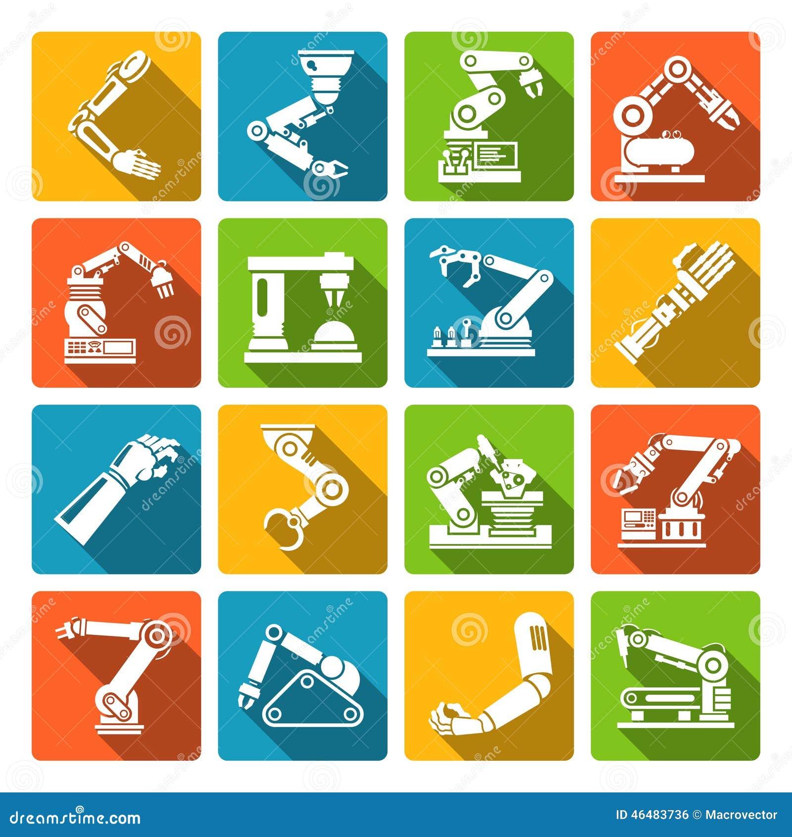 robotic arm icons flat stock vector image 46483736 auto mechanic tools clipart auto mechanic tools clipart