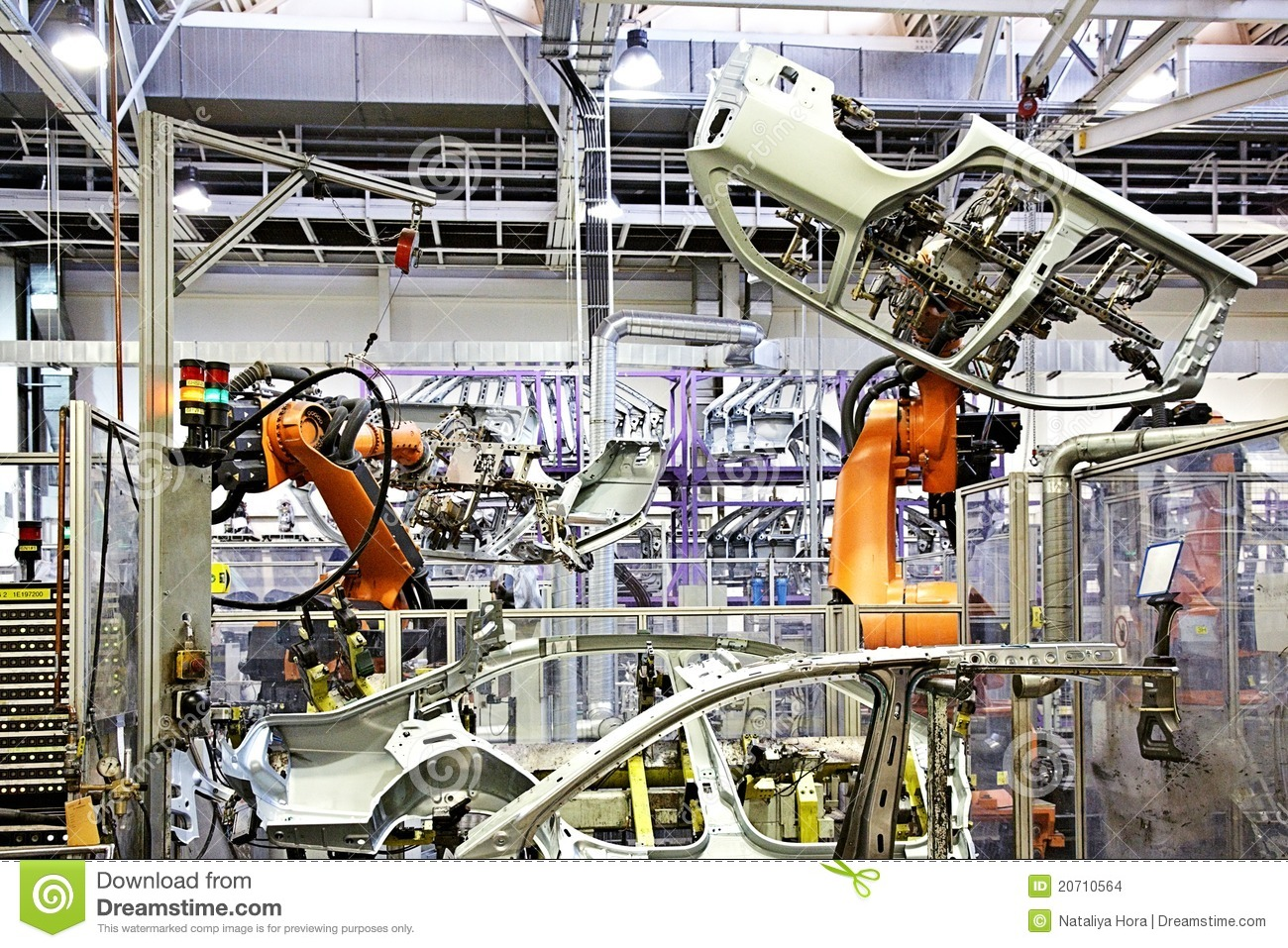 Robotic Arms In A Car Factory Stock Photo - Image of heavy