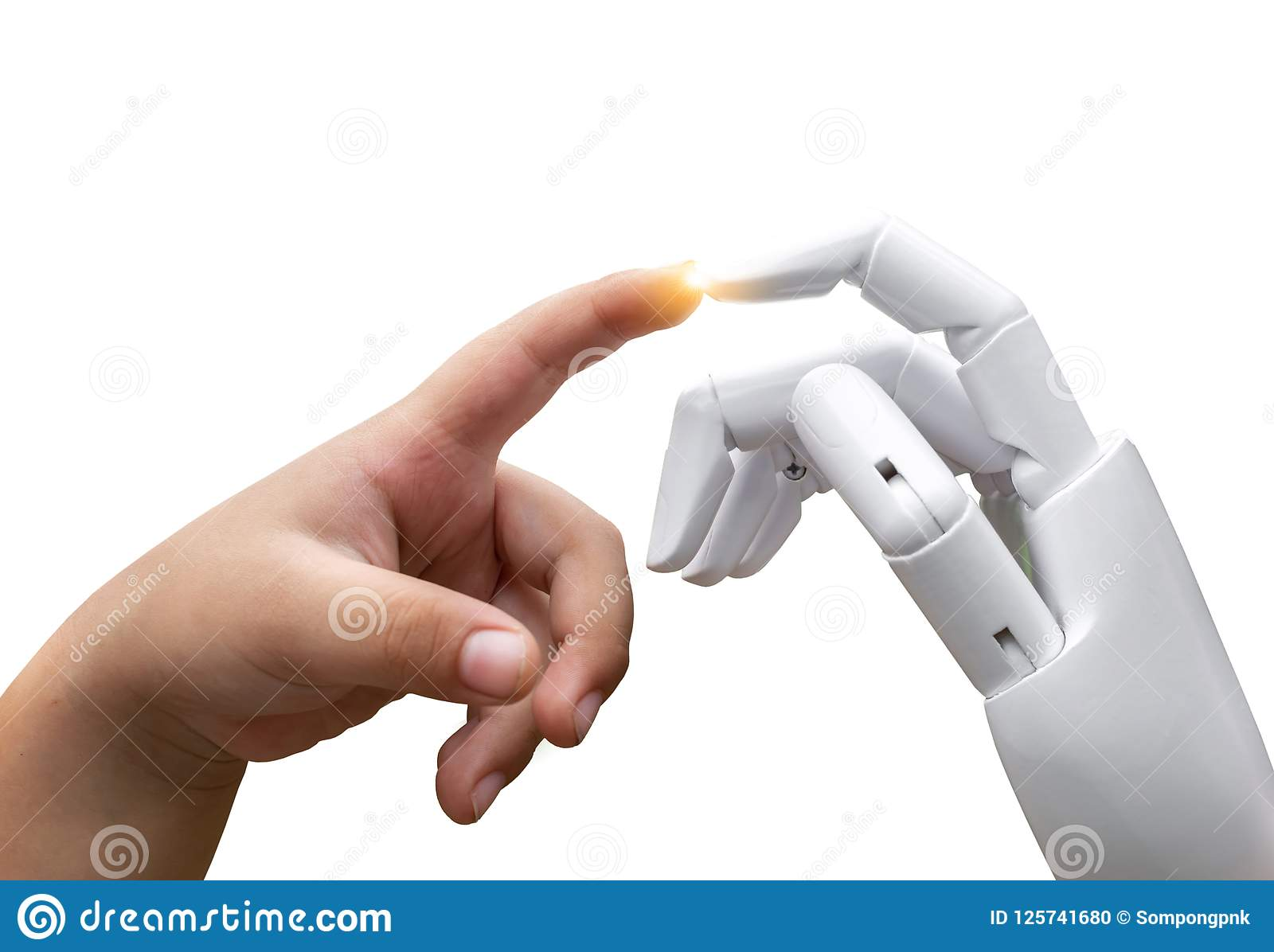 Robotic artificial intelligence future transition child human hand finger hit robot hand press