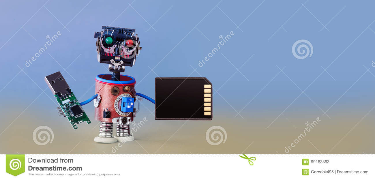 Download Robotic Cyber Safety Data Storage Concept. System Administrator Cyborg Toy With Usb Flash Stick And Memory Card On Blue Stock Image - Image of backup, robotic: 99163363