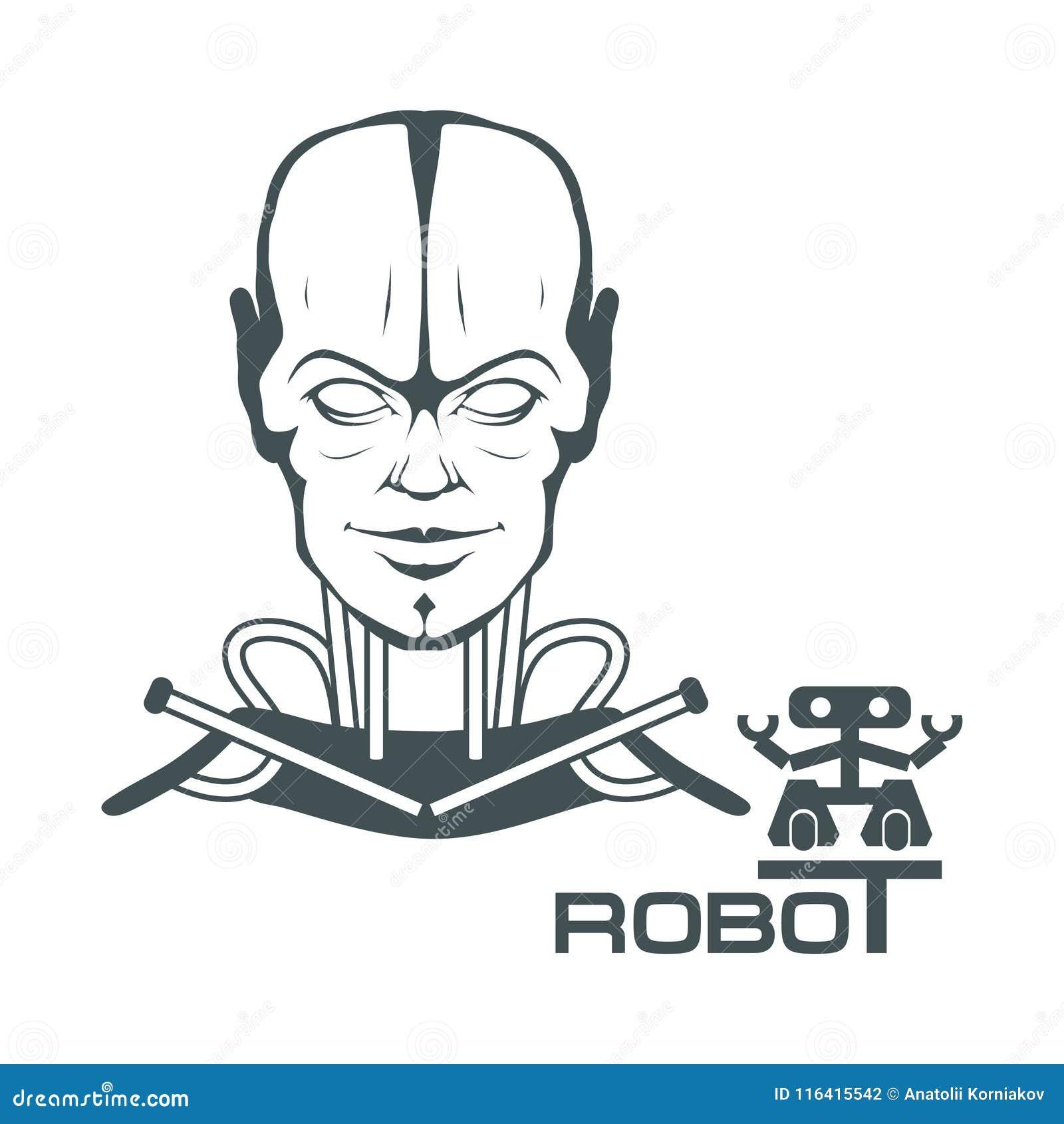 Robotic Face Robot Logo For Design Robotics Stock Vector