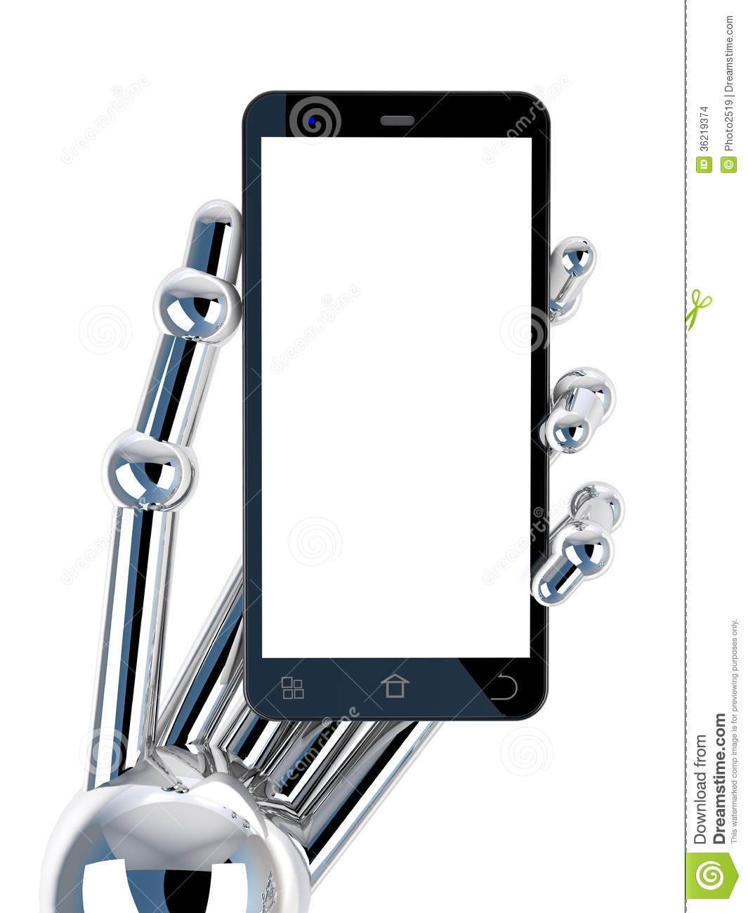 Robotic Hand Holding Black Smartphone Stock Images
