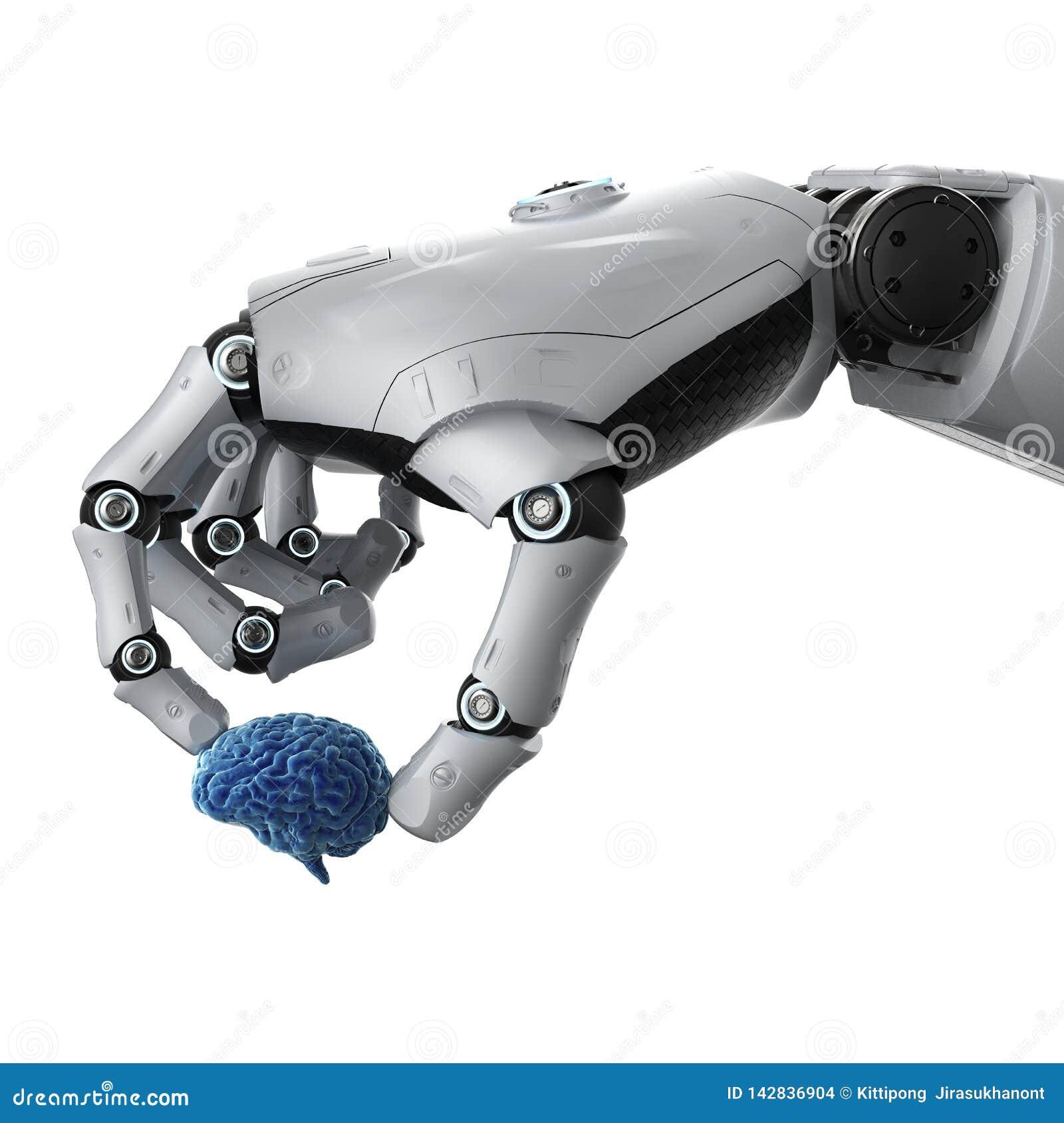 Robotic hand holding brain