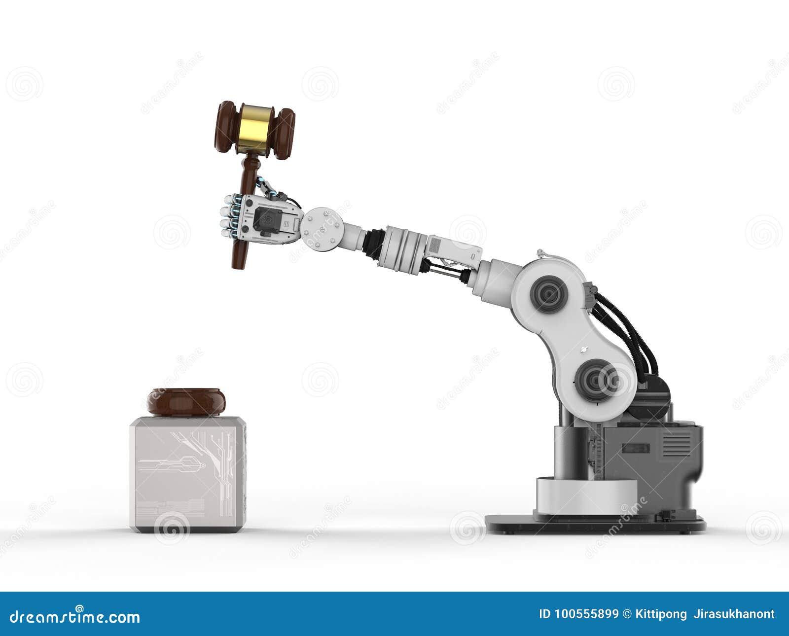 Robotic hand holding gavel judge