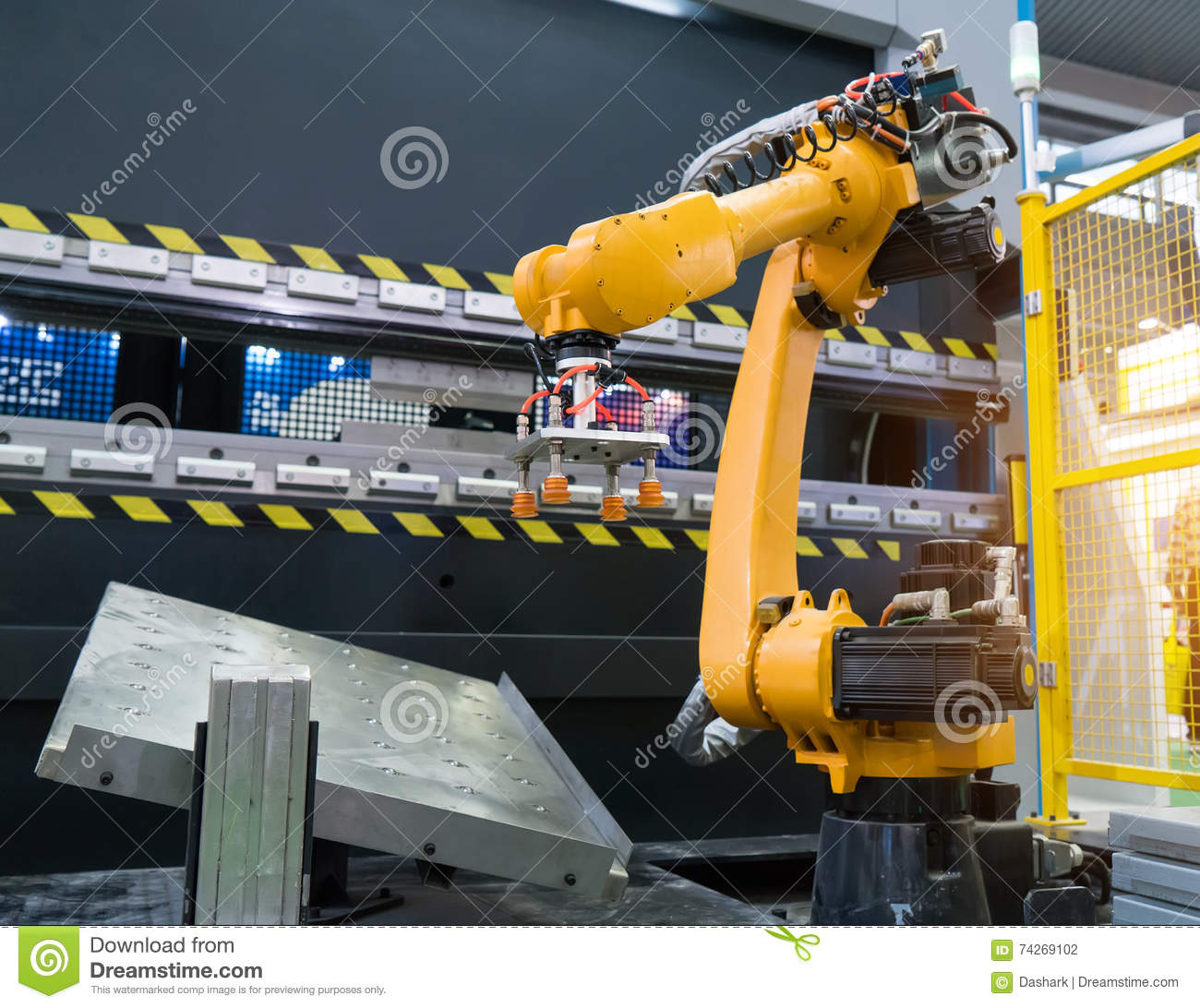 Robotic hand machine tool at industrial factory
