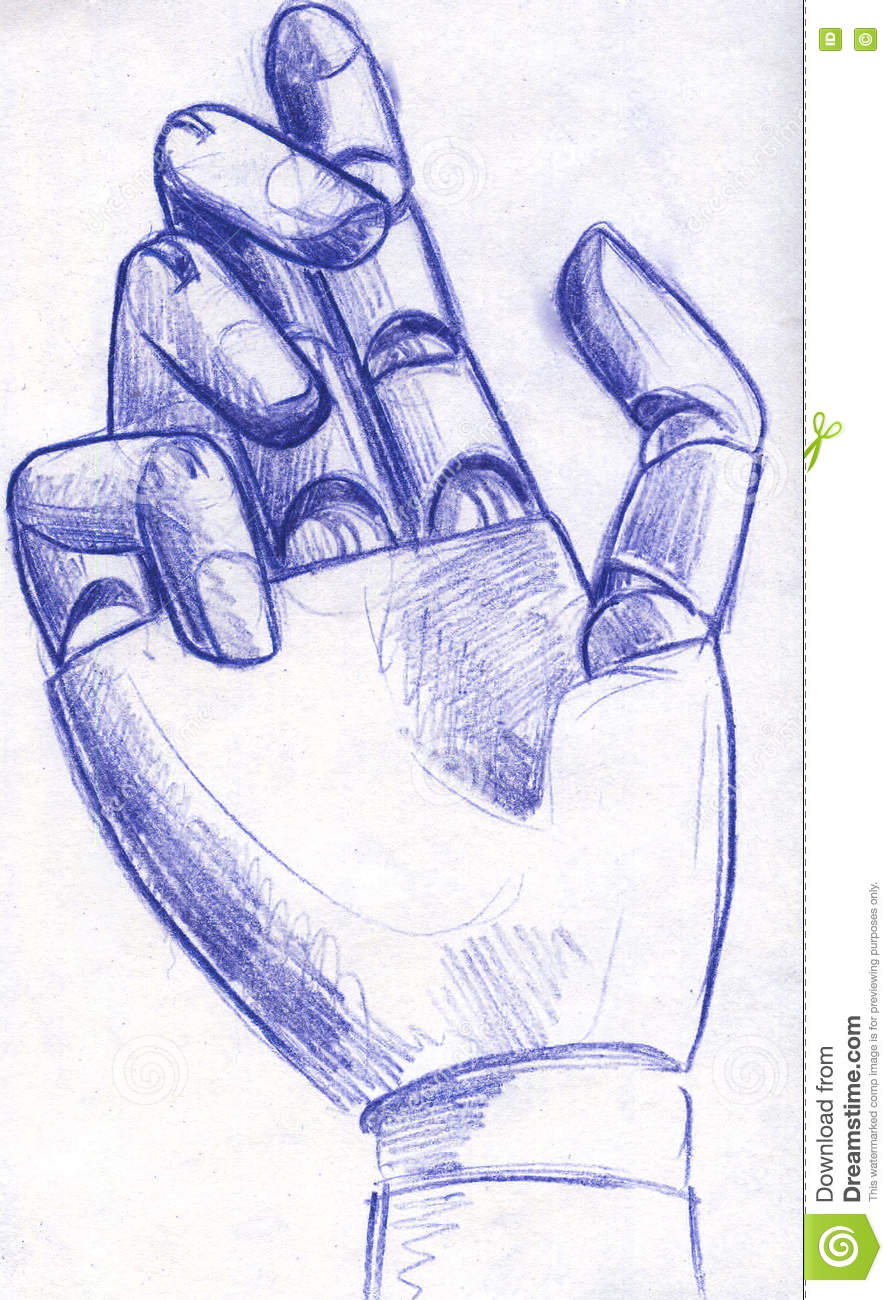 Hand drawn pencil sketch of a wooden hand mannequin that looks like robotic hand