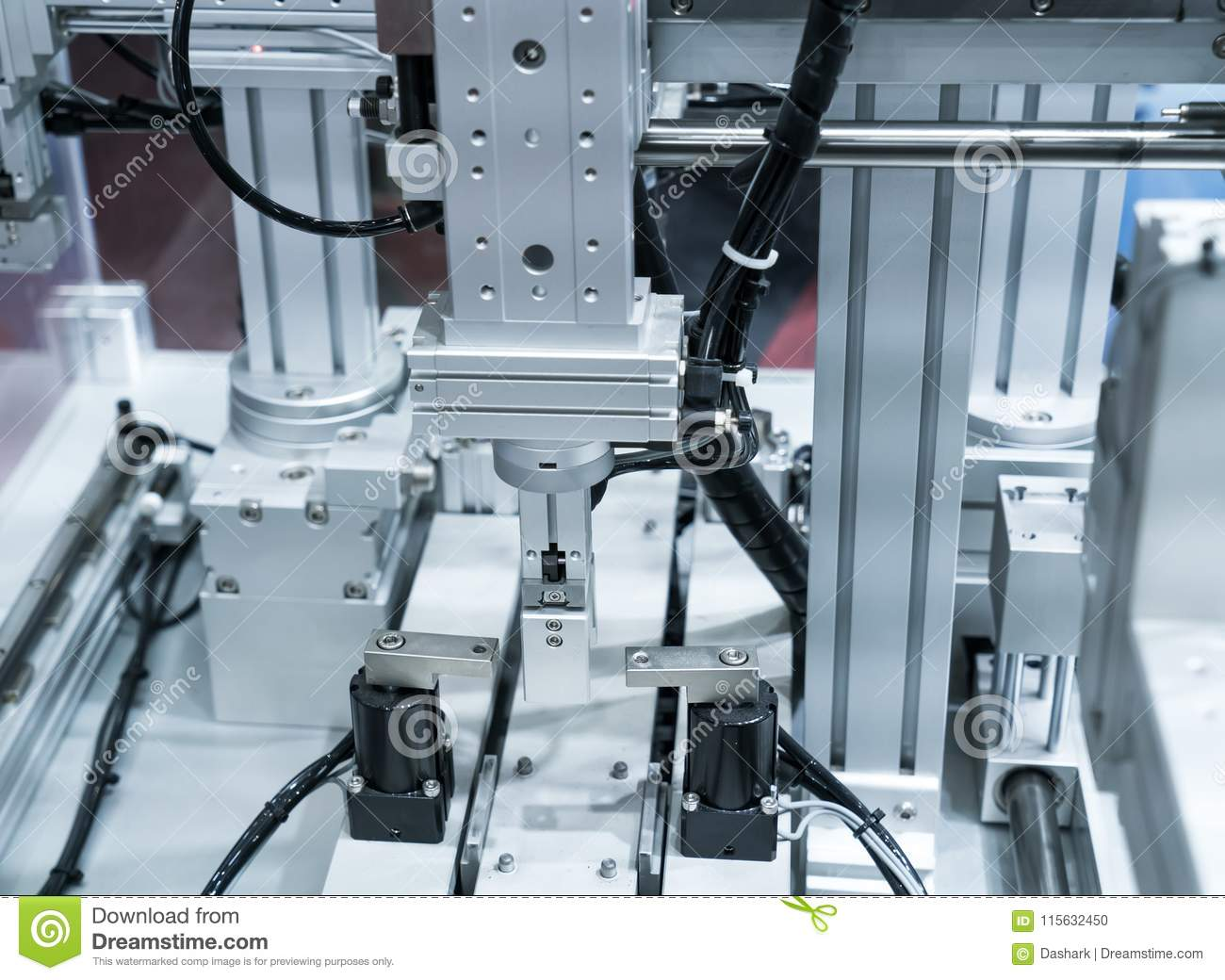 Robotic machine tool in industrial manufacture plant,Smart factory