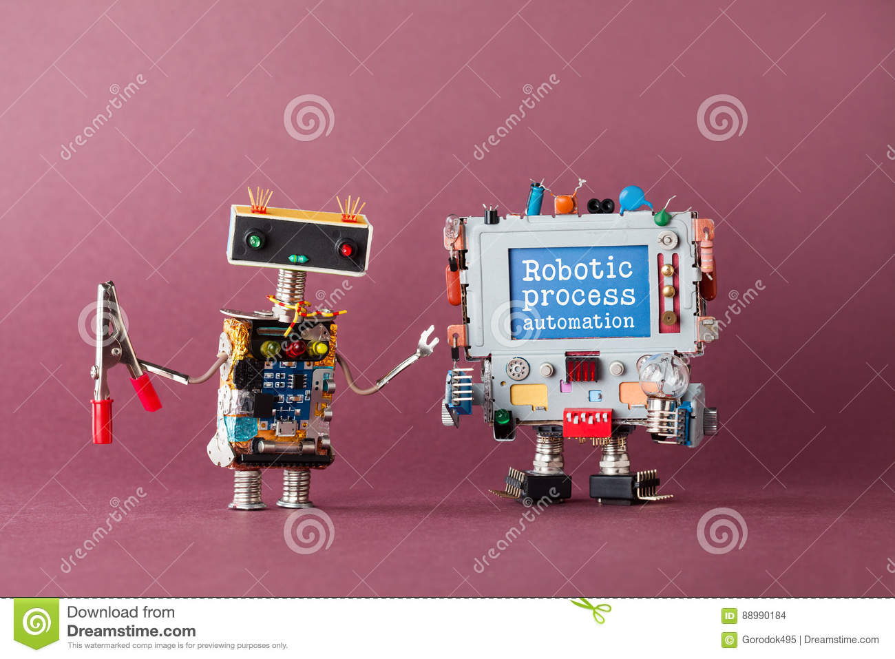 Robotic process automation industry 4.0 concept. IT specialist robot with pliers looking at colorful computer. New