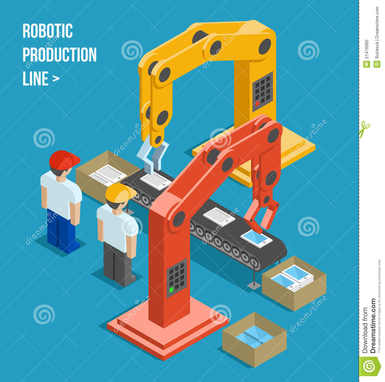 Robotic Production Line Stock Vector Image 51476960