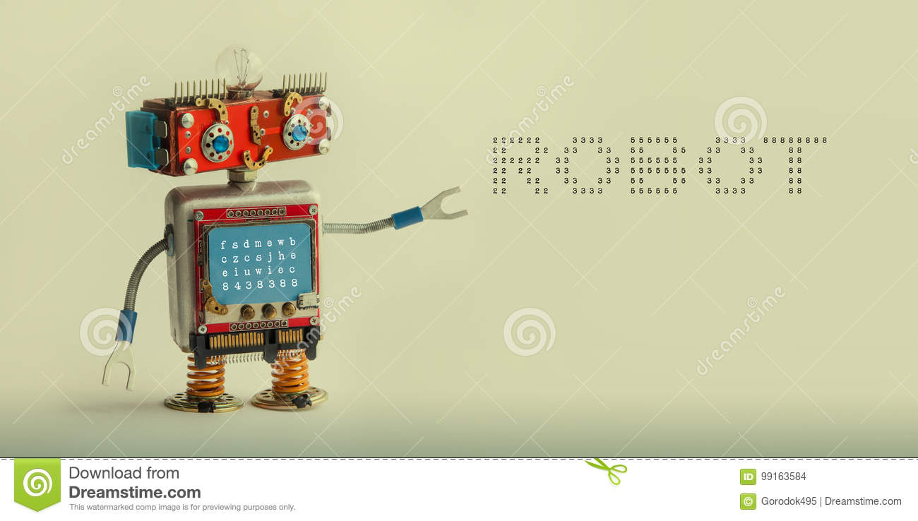 Robotic technology concept. IT specialist cyborg toy, smiley red head blue monitor body. Robot digital message on beige