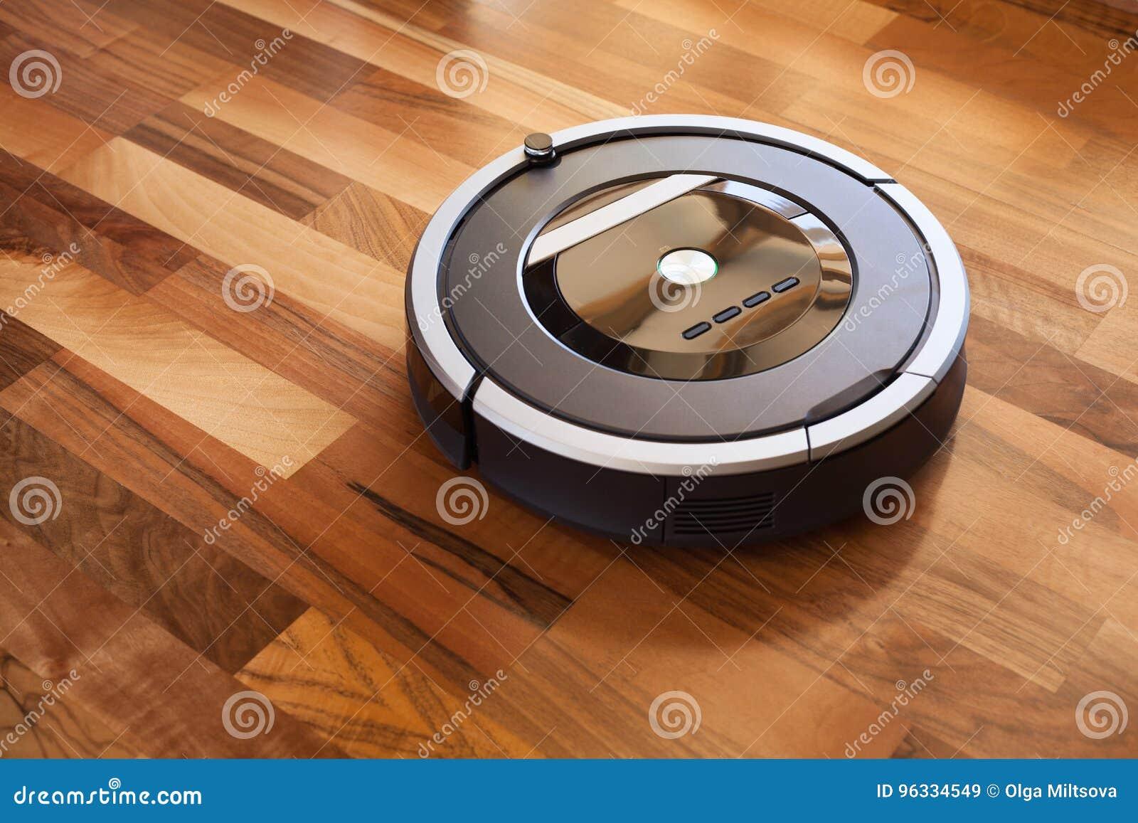 Robotic Vacuum Cleaner On Laminate Wood Floor Smart