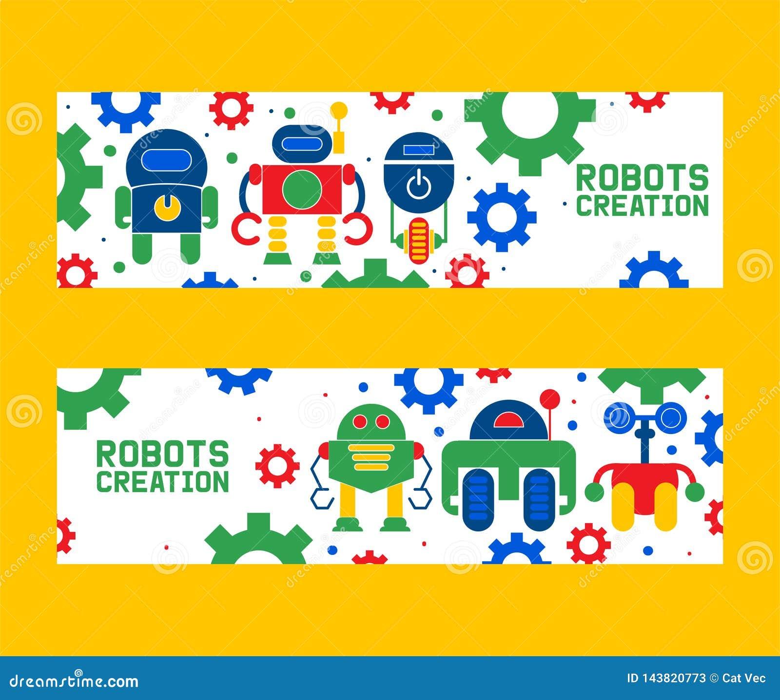 Robotics creation icons set of banners vector illustration. Celebration. Futuristic artificial intelligence technology