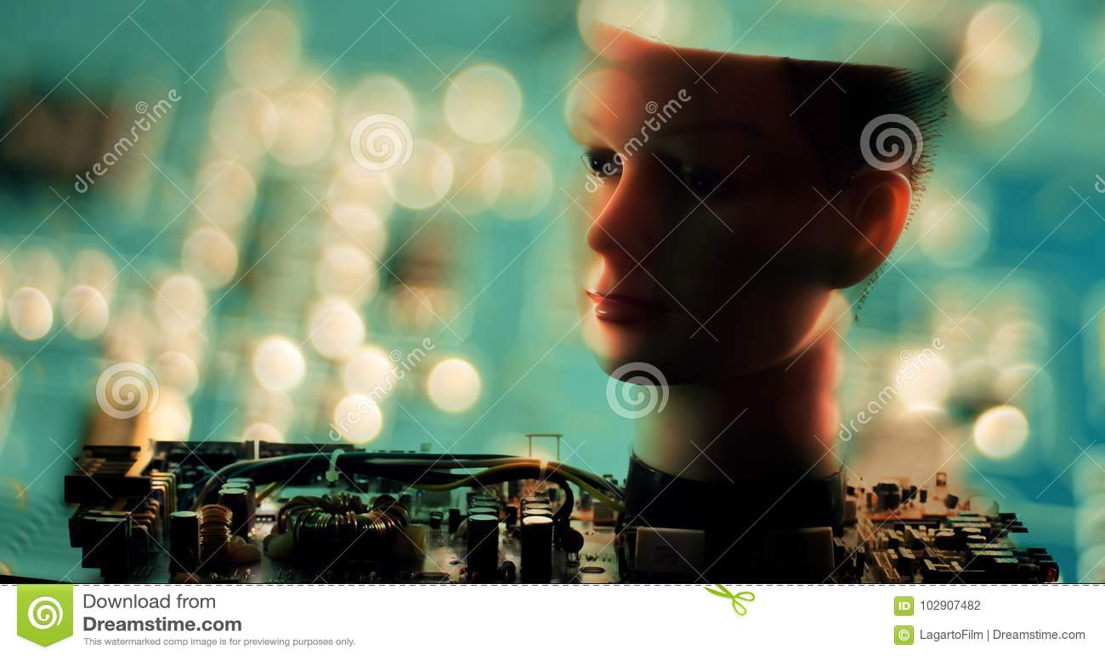 Robotics Cyber Science Ai Robot Head Stock Photo Image Of