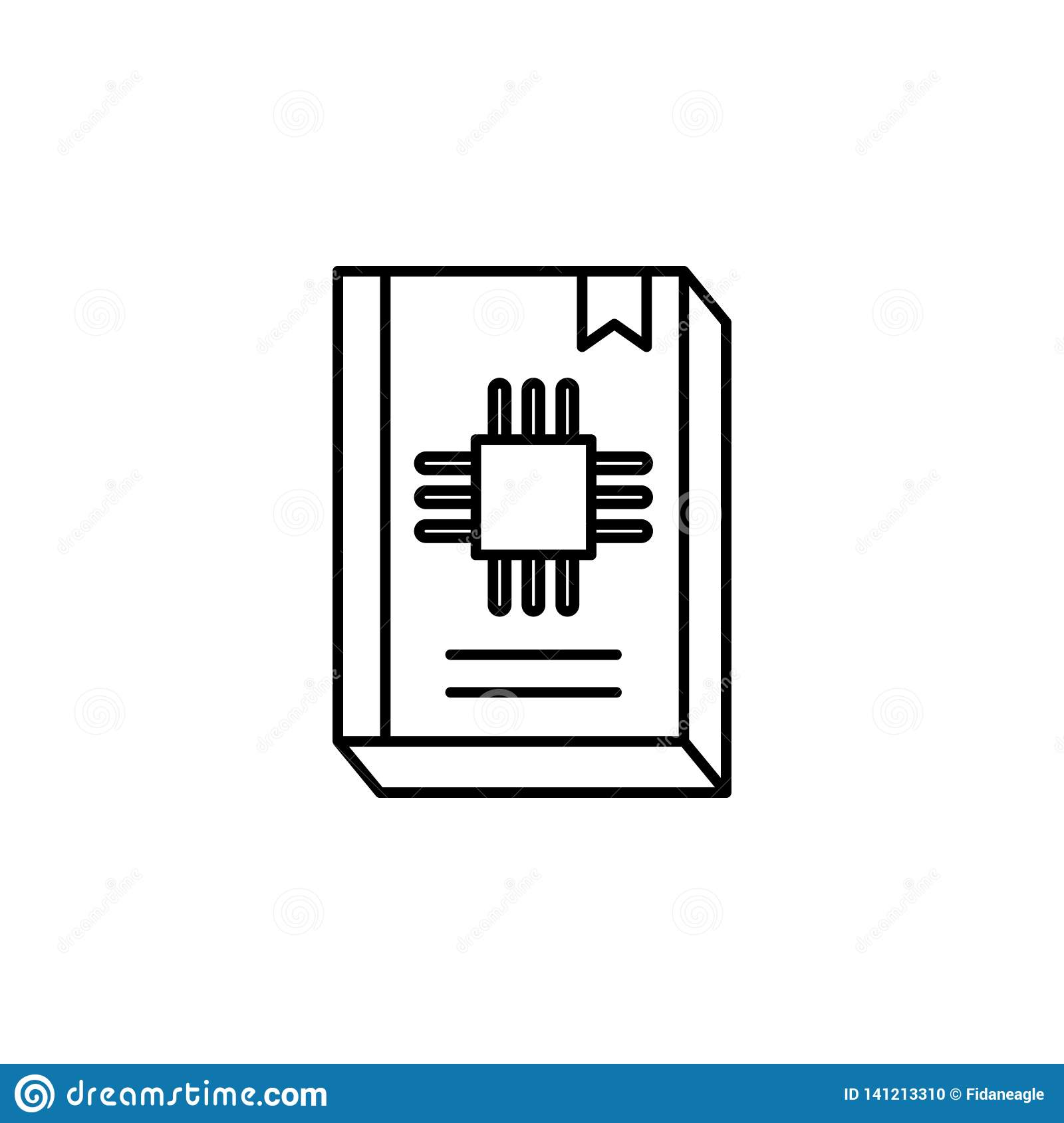 Robotics guide book outline icon. Signs and symbols can be used for web, logo, mobile app, UI, UX