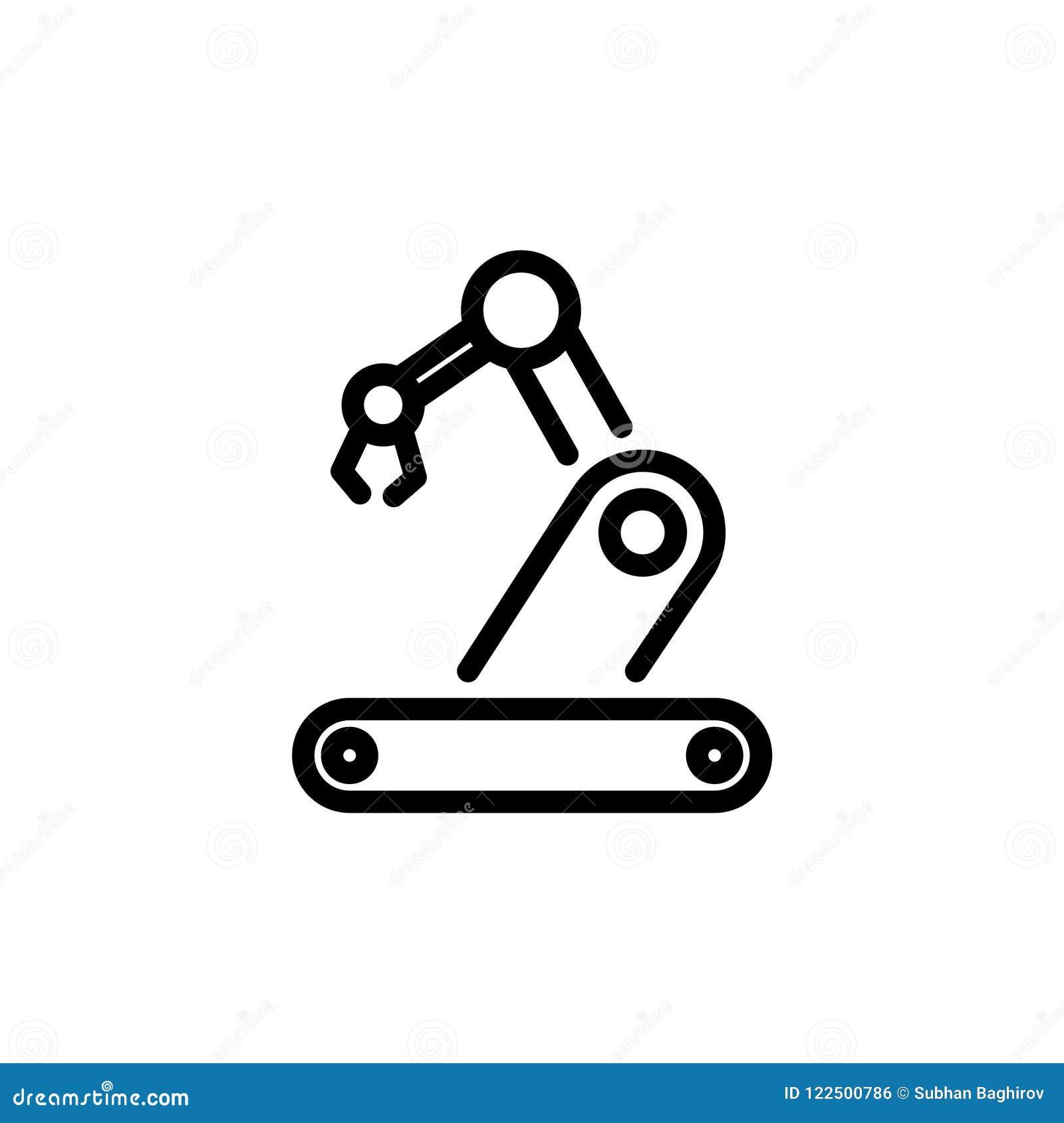 Robotics Icon Simple Flat Style Outline Illustration Stock Vector