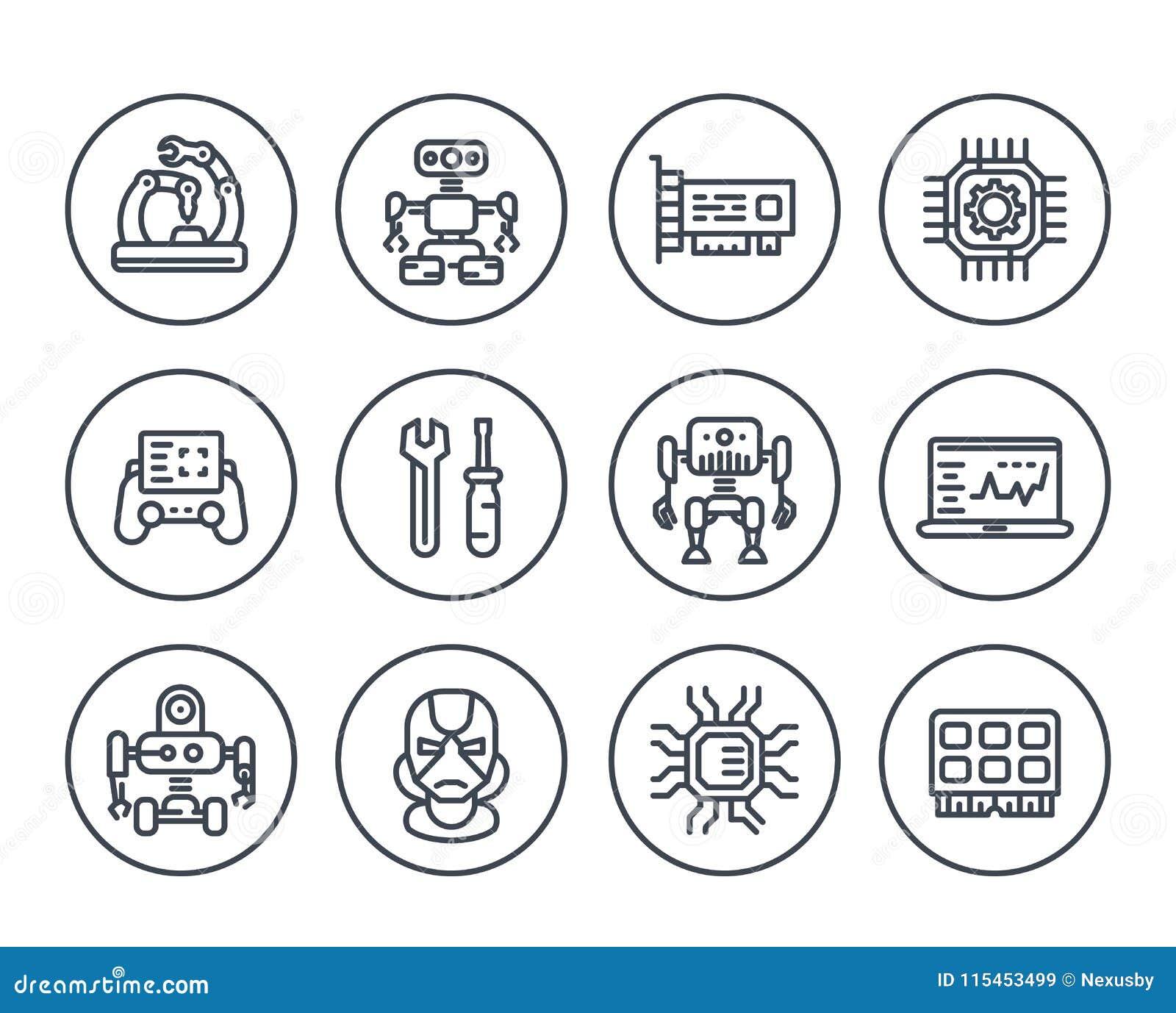 Robotics, mechanical engineering, robots, icons