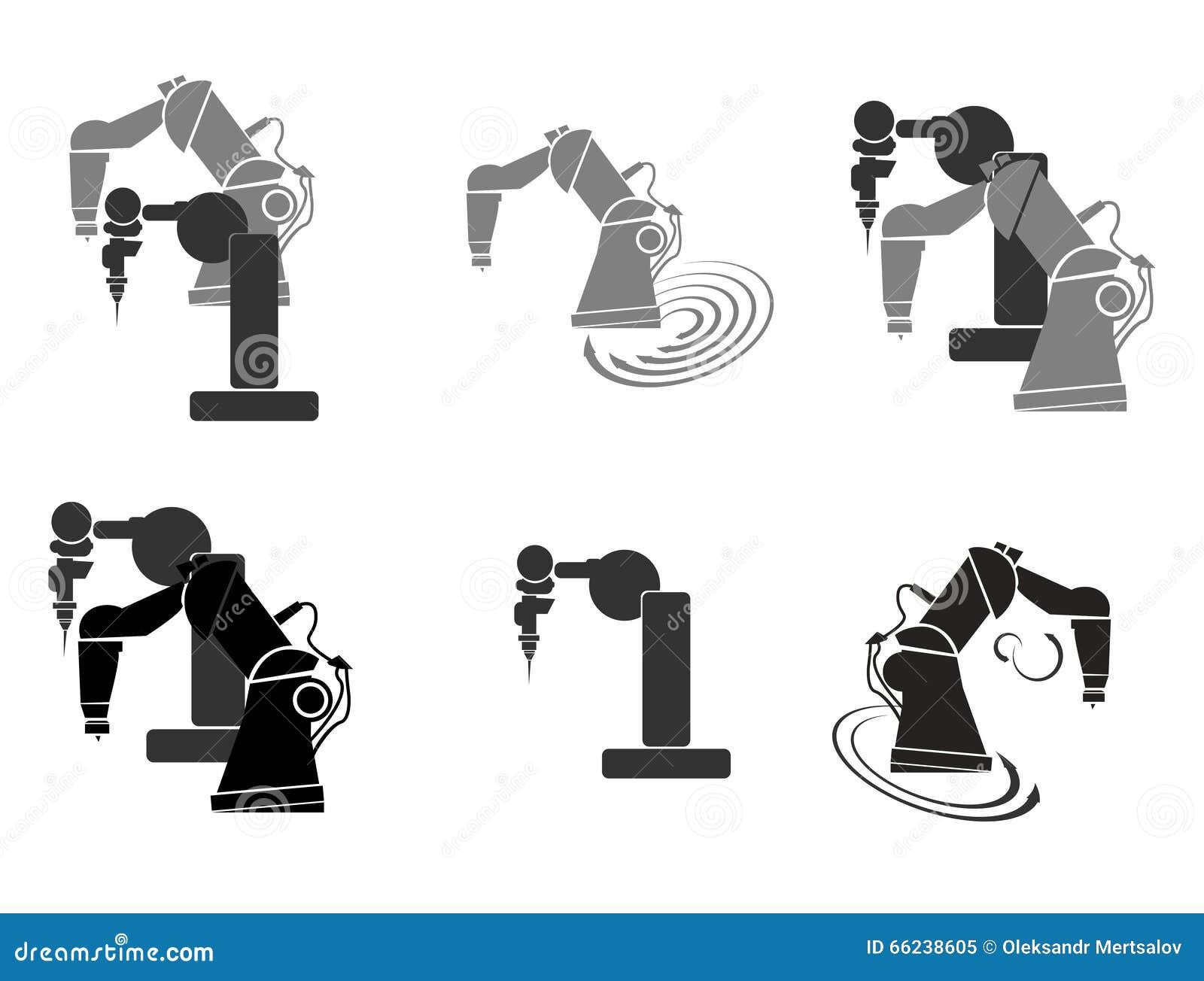 Robotics Robot Hand Robot Icon Set Background Abstract