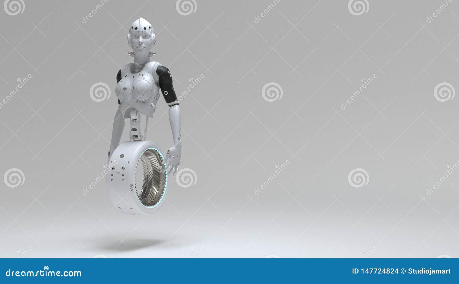 Robotkvinna, digital v?rld f?r science fictionkvinna av framtiden