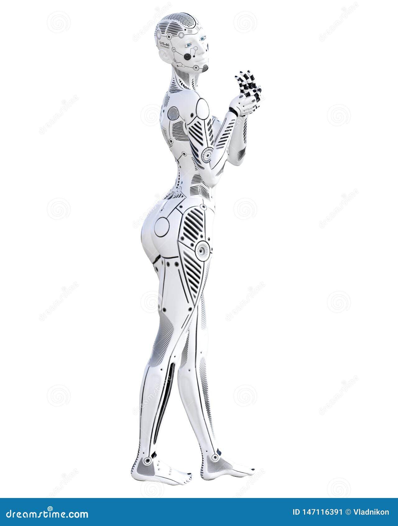 Robotkvinna Droid f?r vit metall