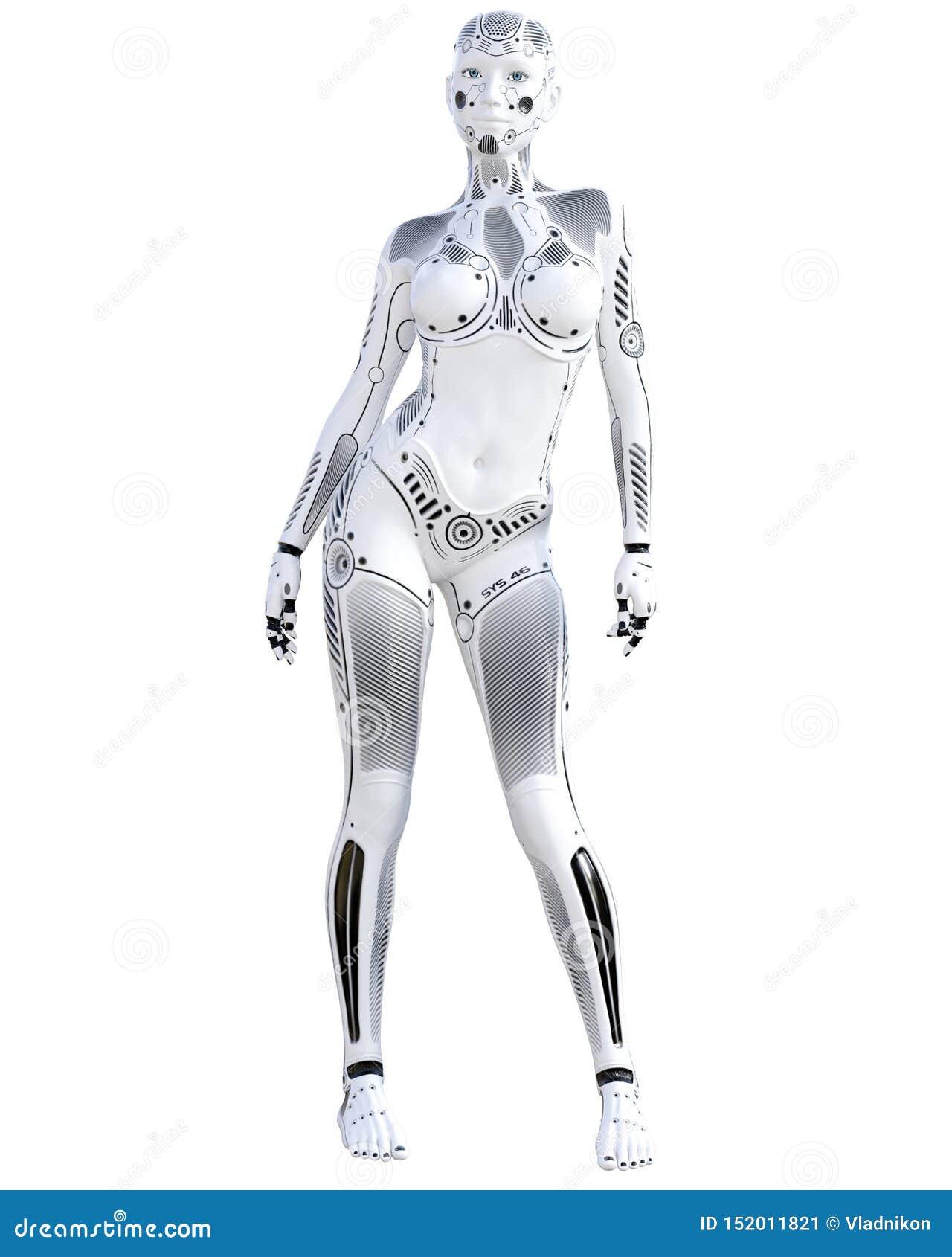 Robotkvinna Droid f?r vit metall konstgjord intelligens