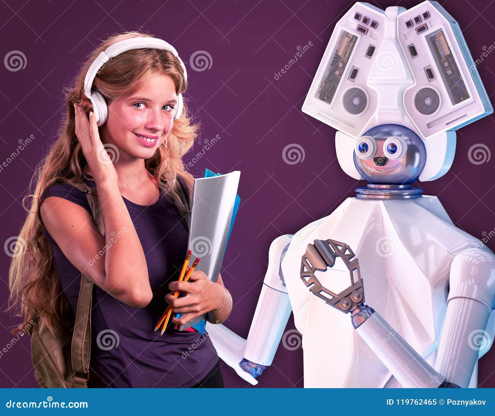 Robotleraar voor jong geitje Wit plastic ai robotachtig apparaat