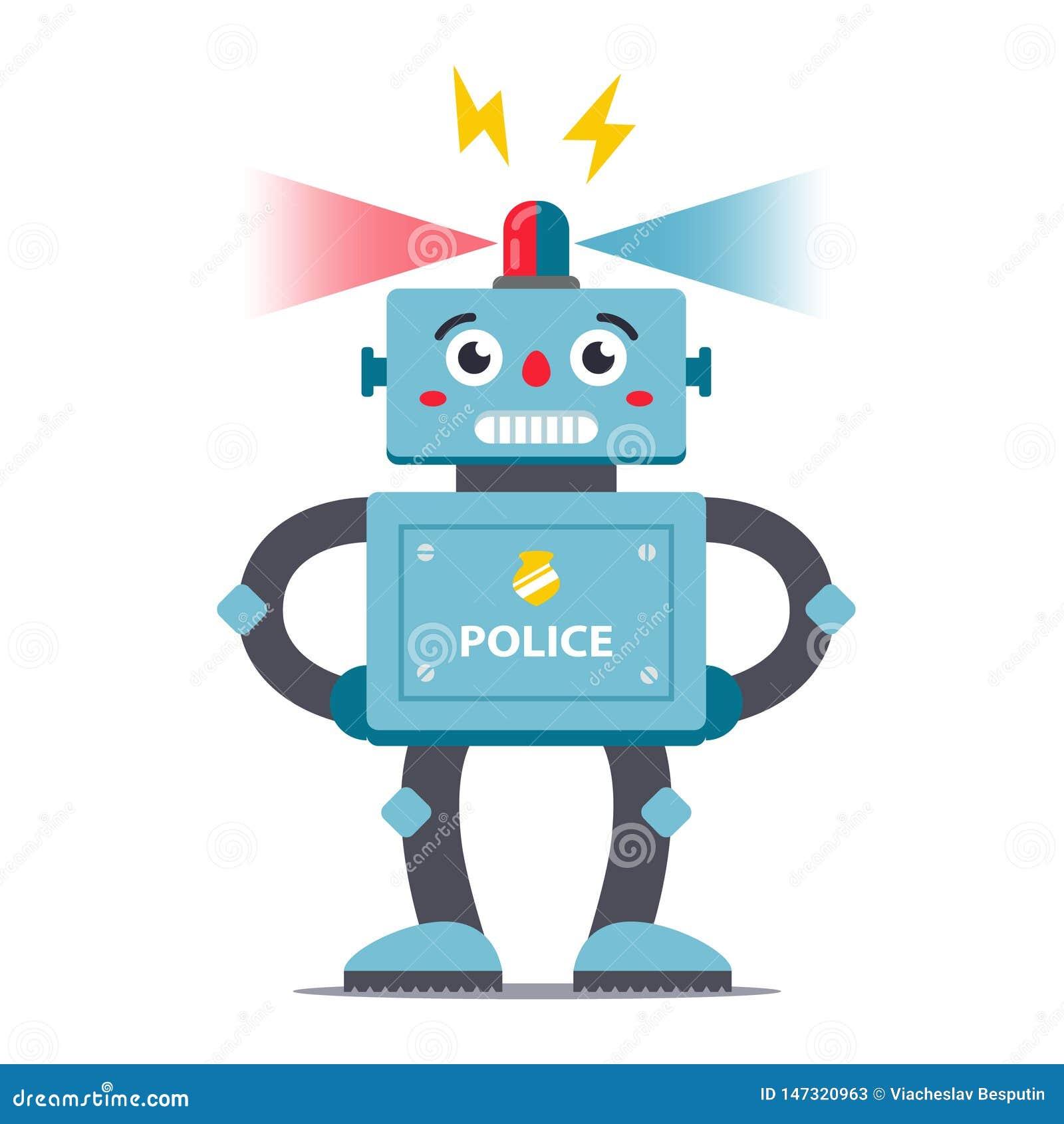 Robotpolis på en oavkortad tillväxt för vit bakgrund vektor barns teckenleksaker
