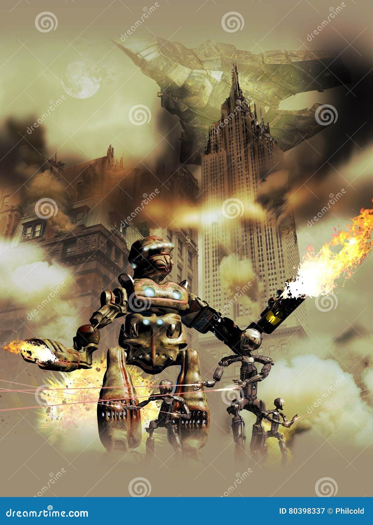 Robots étrangers envahissant la terre
